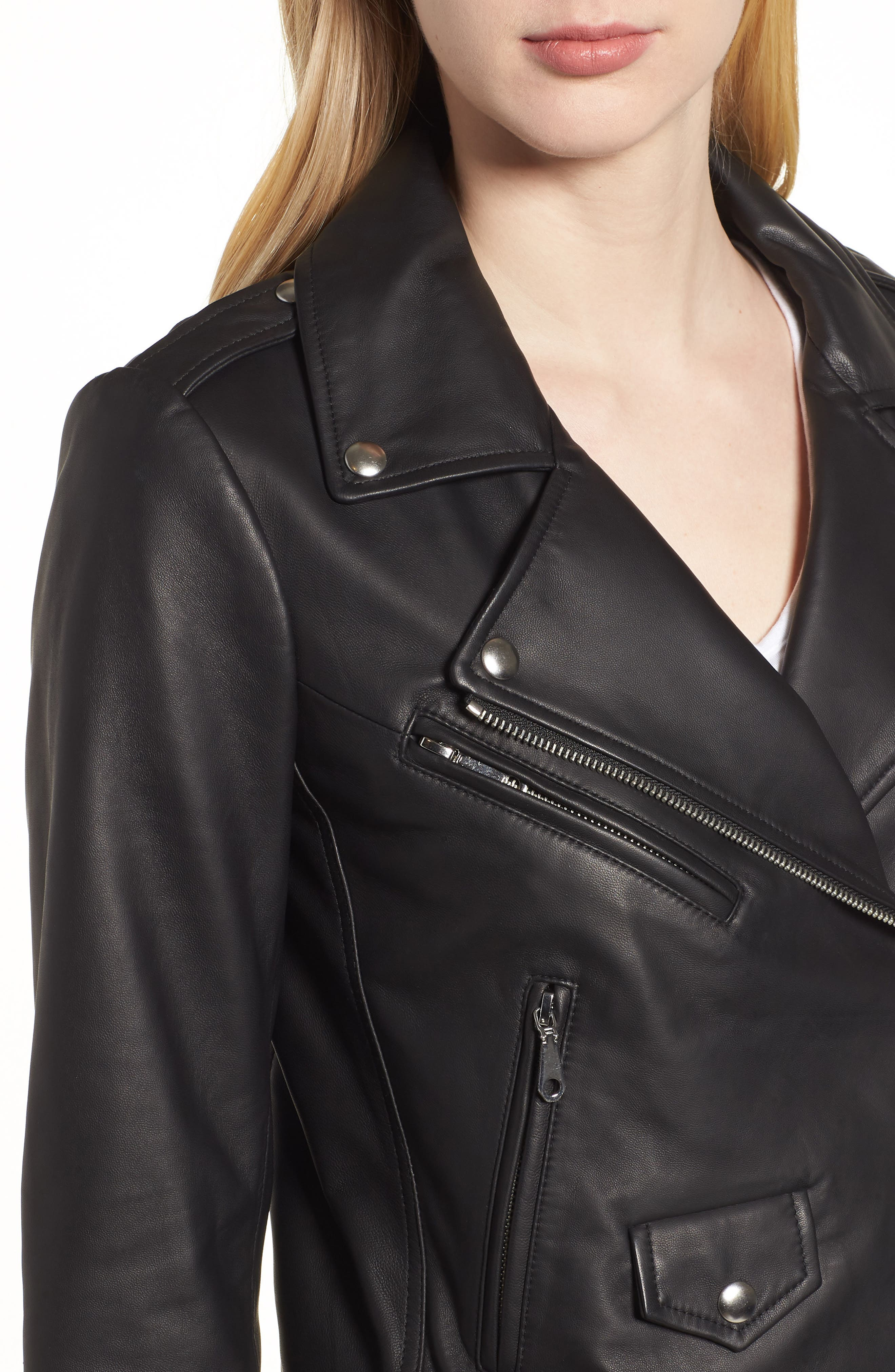 Wes Leather Moto Jacket,                             Alternate thumbnail 4, color,                             002