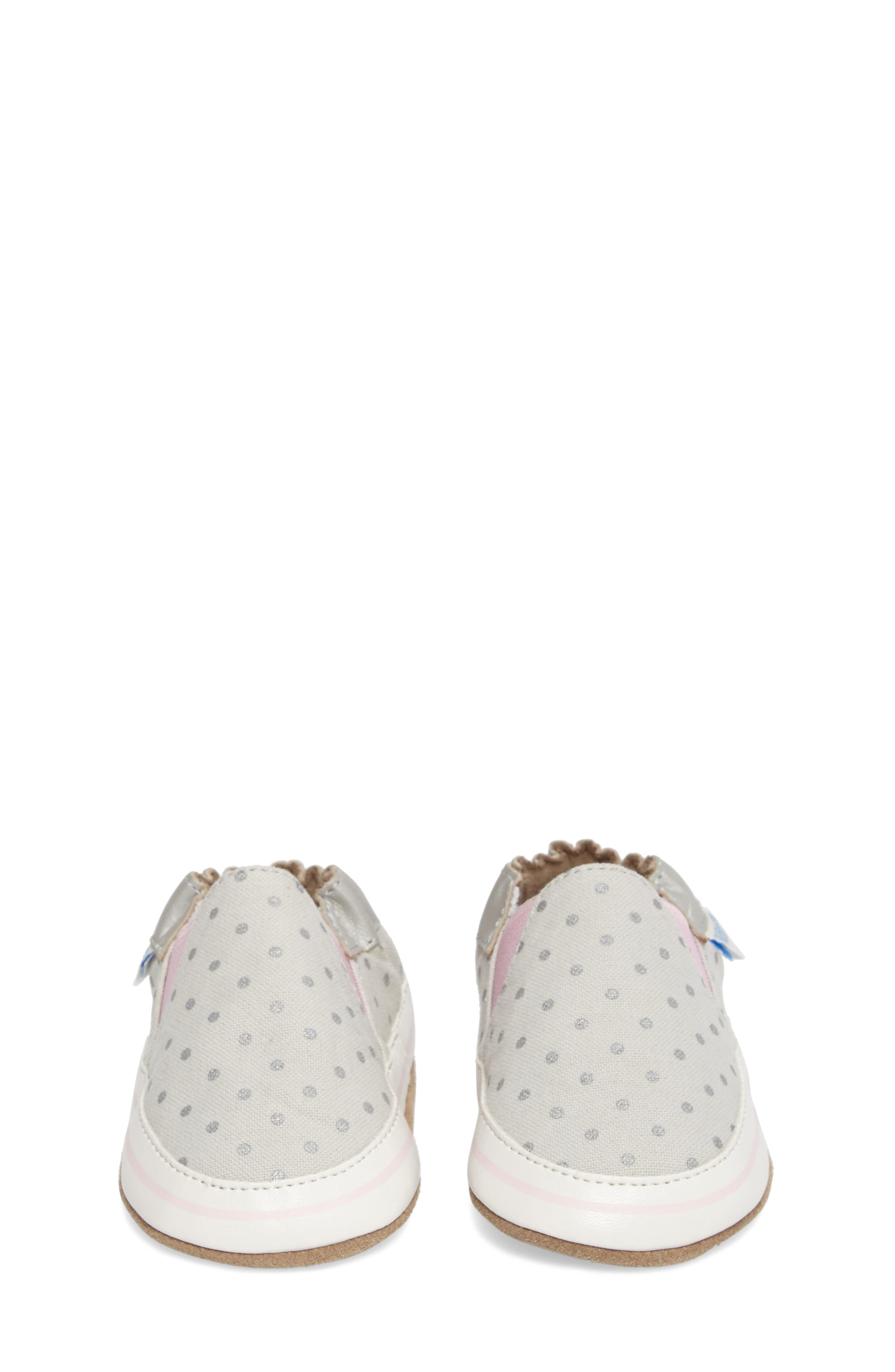 Dot Mania Crib Shoe,                             Alternate thumbnail 4, color,                             METALLIC GREY LEATHER