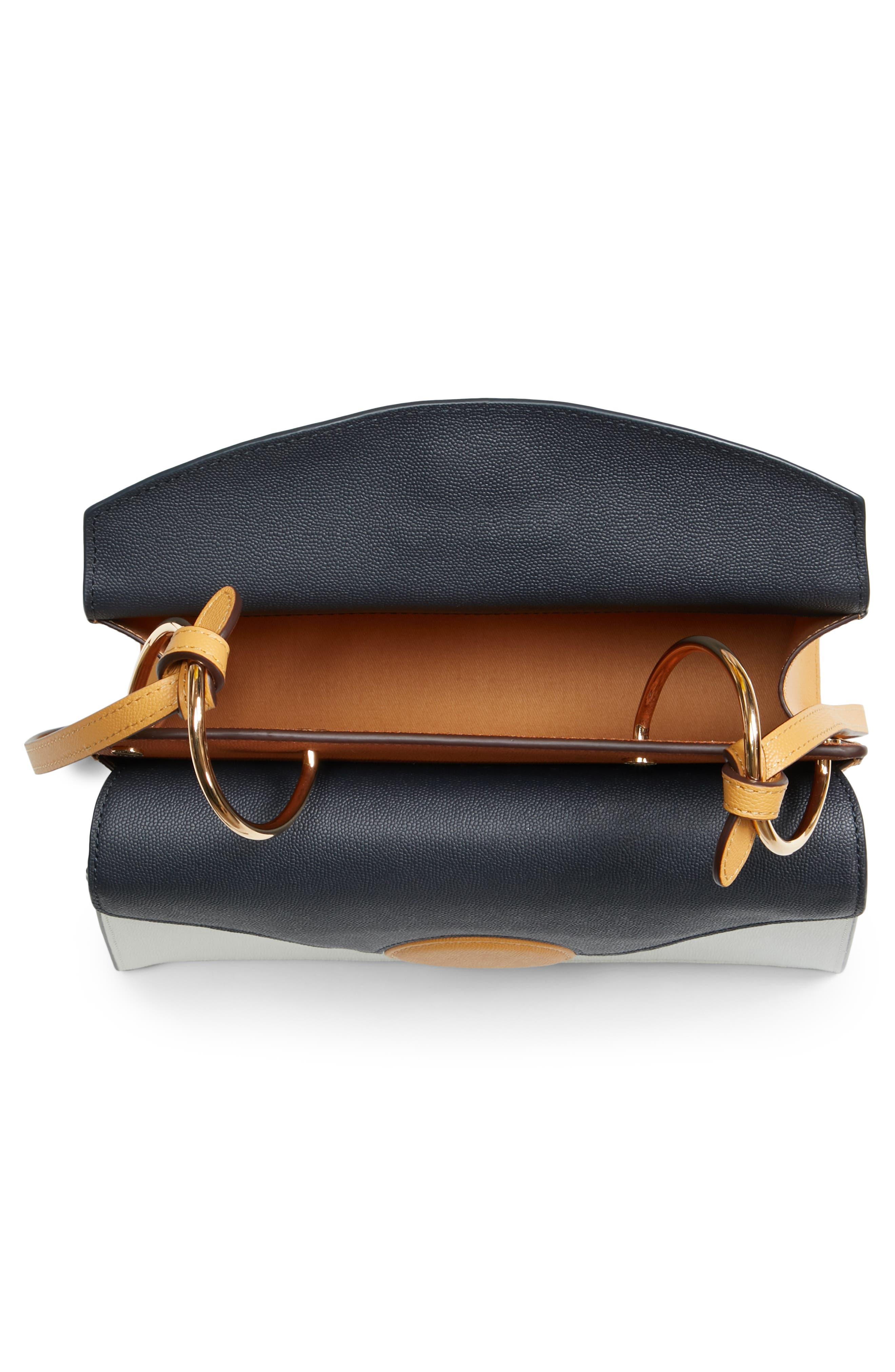 Phoebe Leather Crossbody Bag,                             Alternate thumbnail 4, color,                             MARINE/ SAND