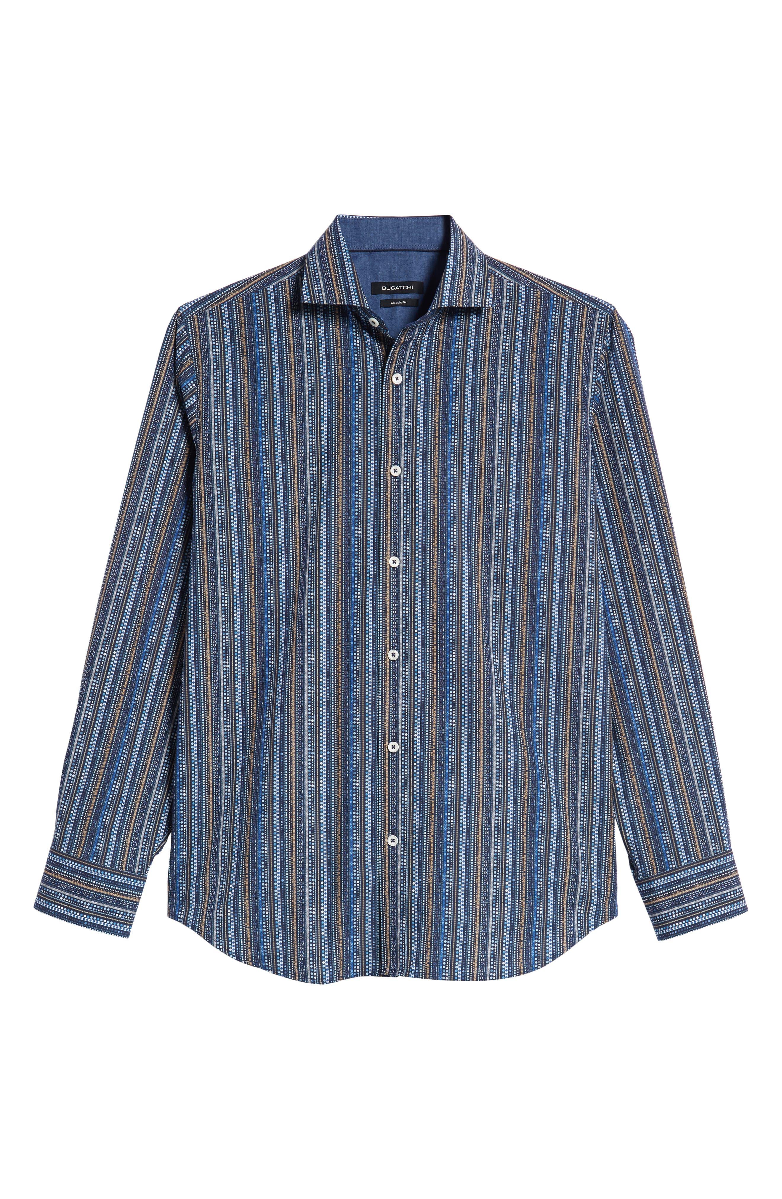 Classic Fit Print Stripe Sport Shirt,                             Alternate thumbnail 5, color,                             NAVY