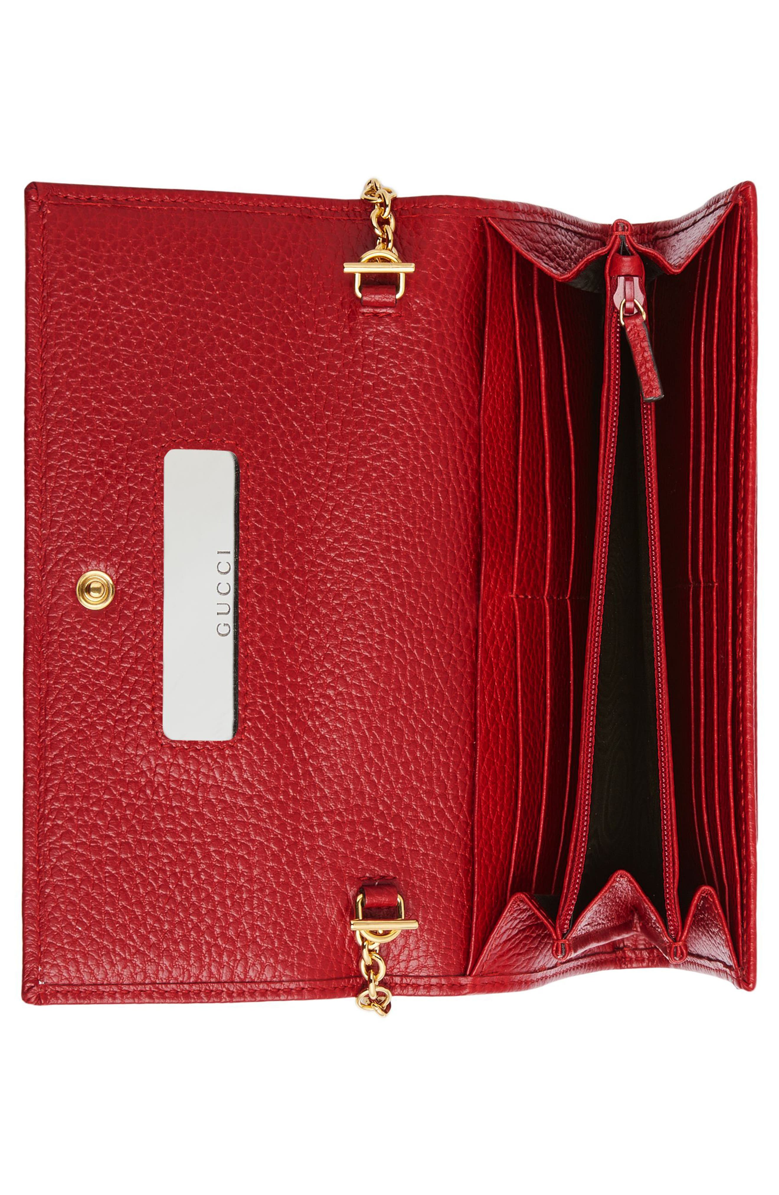 Petite Marmont Leather Continental Wallet on a Chain,                             Alternate thumbnail 3, color,                             HIBISCUS RED