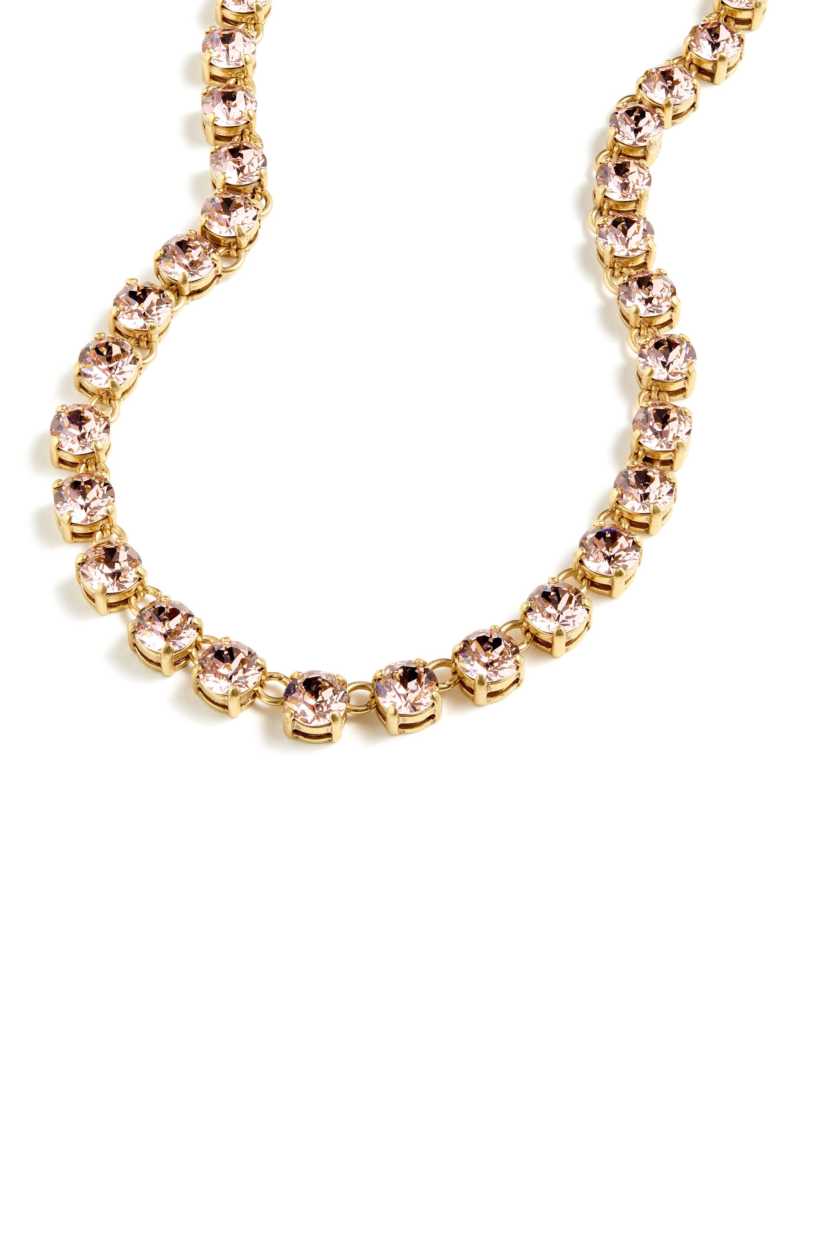 J.CREW Swarovski Crystal Dot Necklace in Jasmine Frost