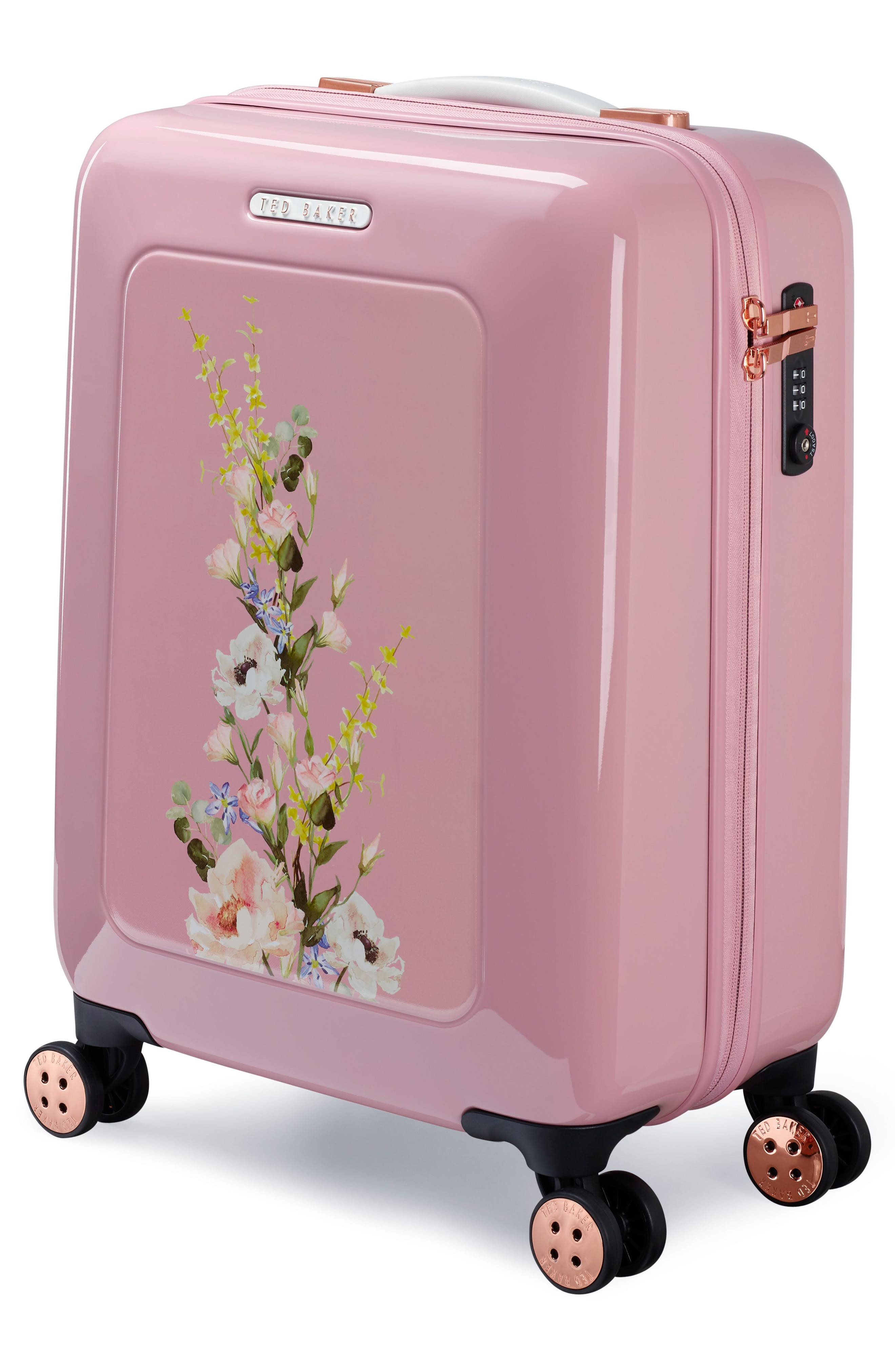 TED BAKER LONDON,                             Small Elegant Print 21-Inch Spinner Carry-On,                             Alternate thumbnail 3, color,                             PINK