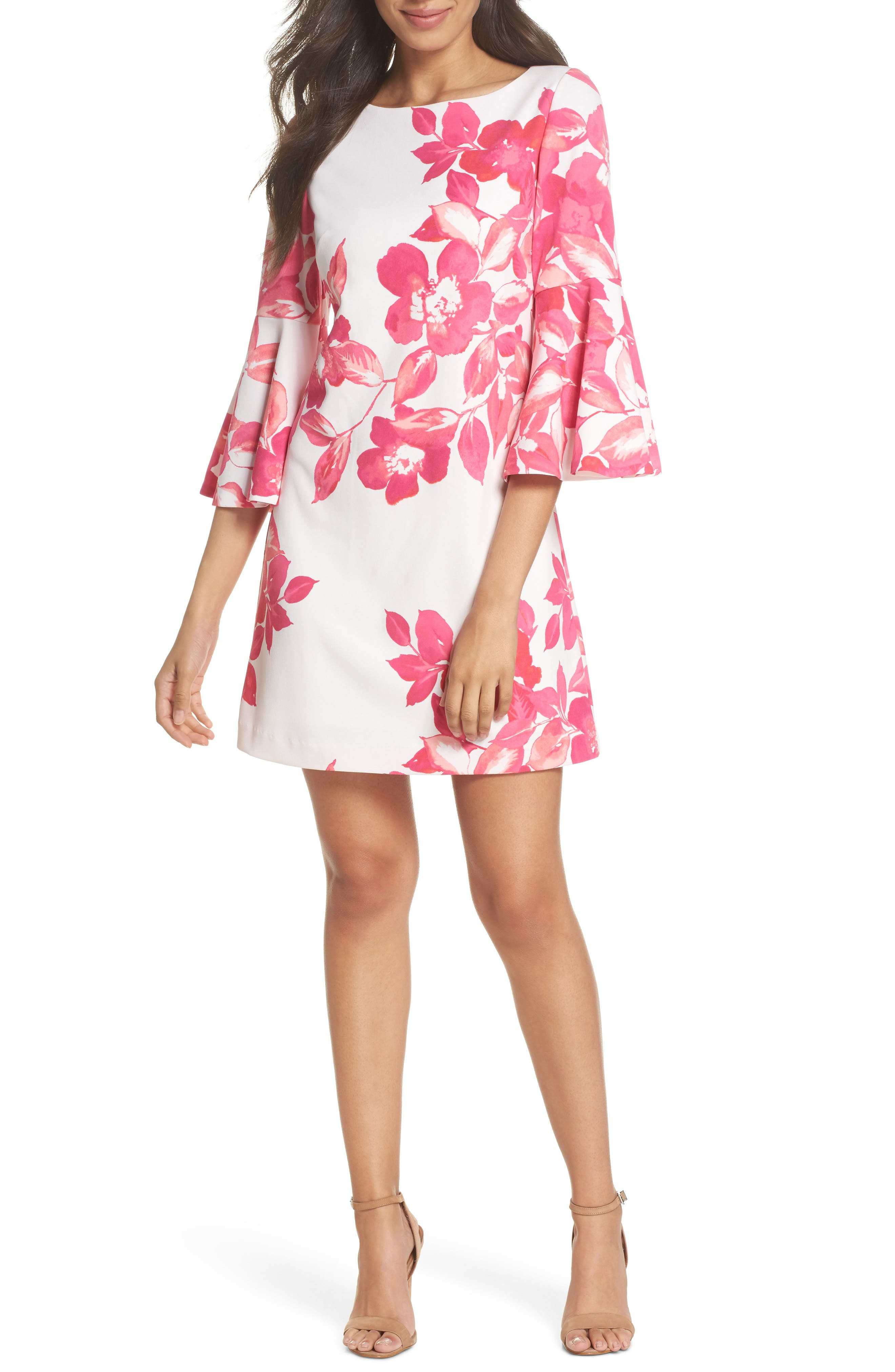 Floral Shift Dress,                         Main,                         color, PINK