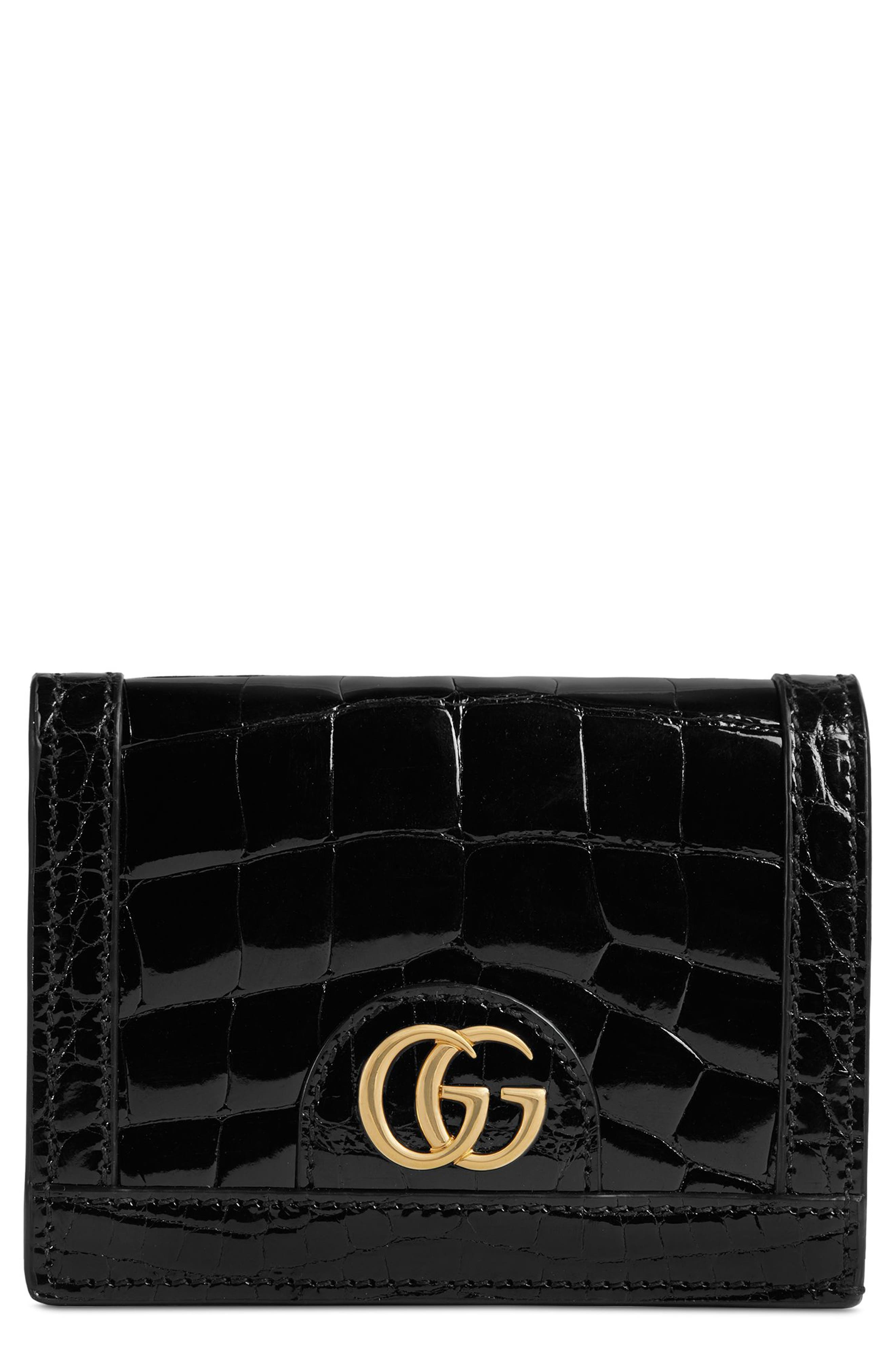 Ophidia Genuine Crocodile Card Case,                             Main thumbnail 1, color,                             NERO/ NERO