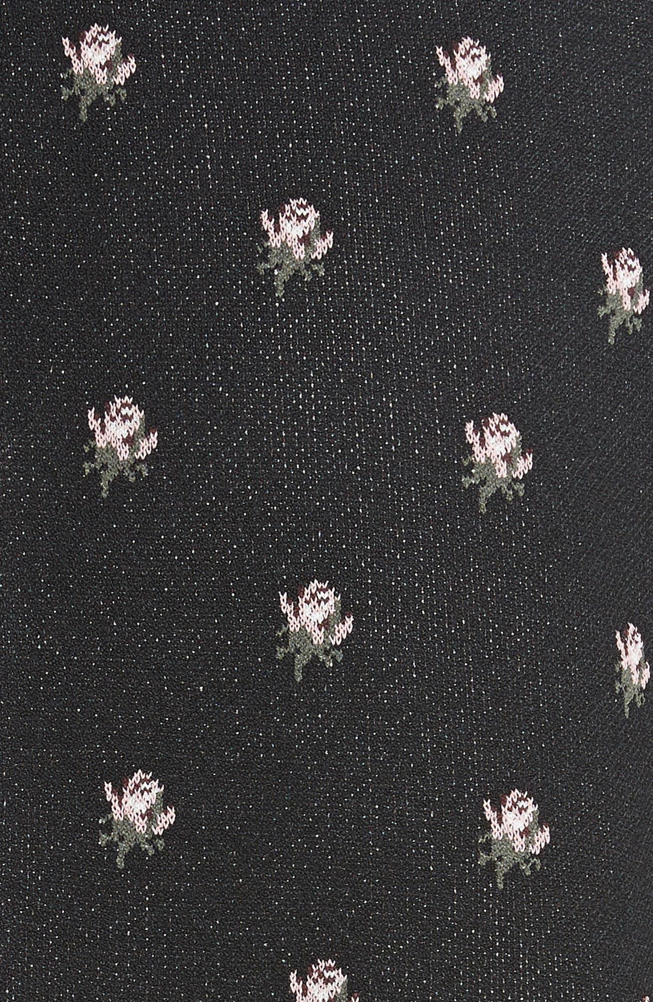 Embellished Collar Floral Jacquard Dress,                             Alternate thumbnail 5, color,                             001