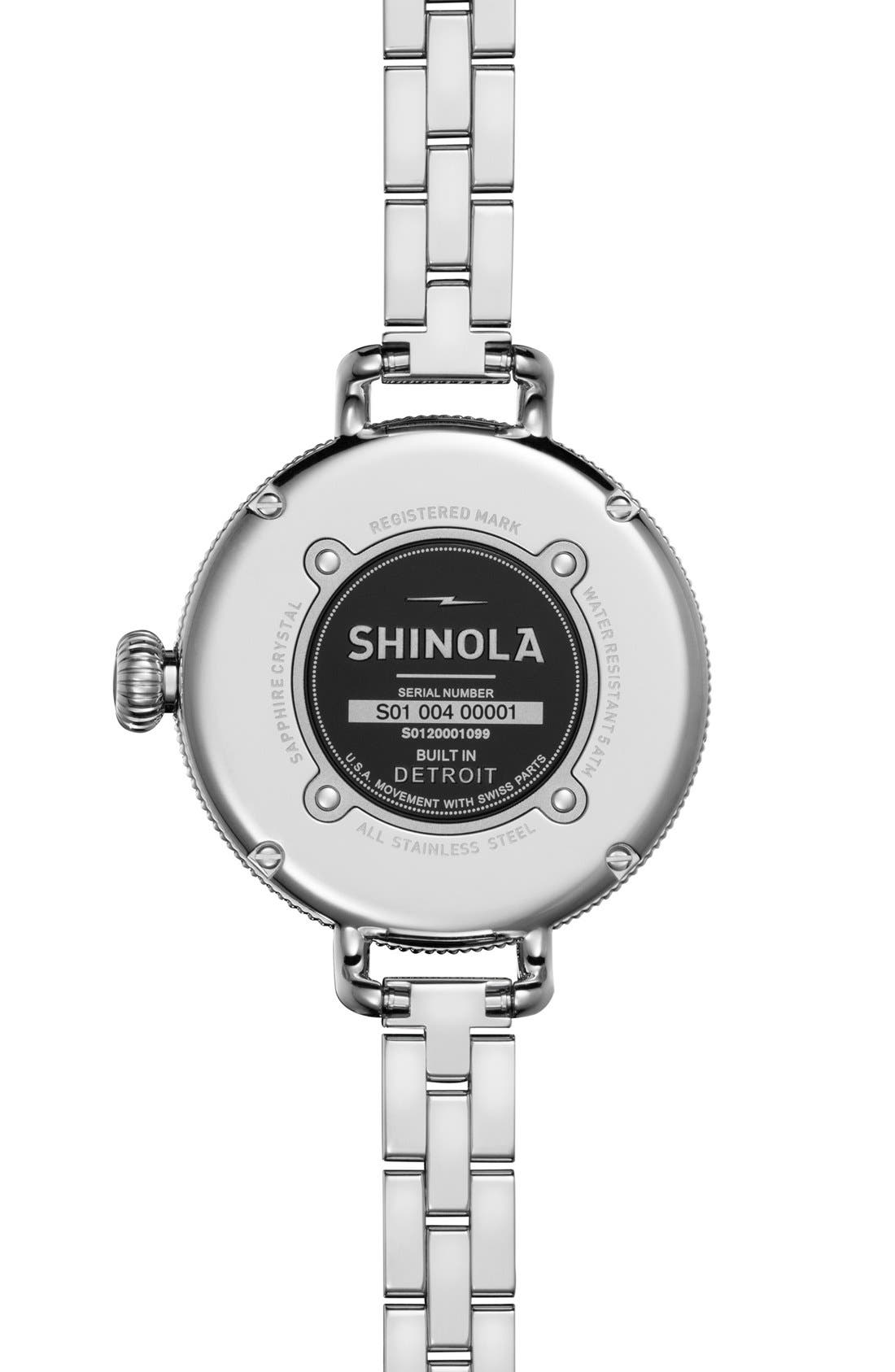 SHINOLA,                             'The Birdy' Bracelet Watch, 34mm,                             Alternate thumbnail 5, color,                             SILVER/ NAVY MOTHER OF PEARL