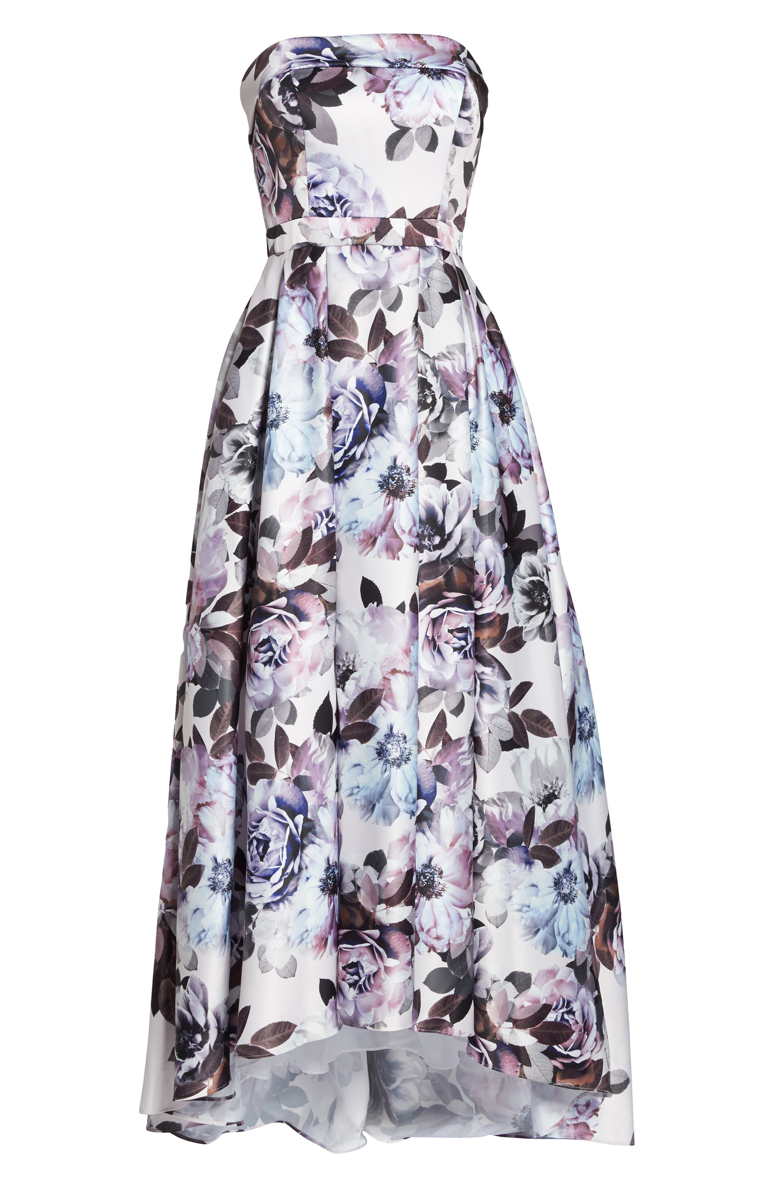 Floral Bustier High/Low Gown,                             Alternate thumbnail 6, color,                             460