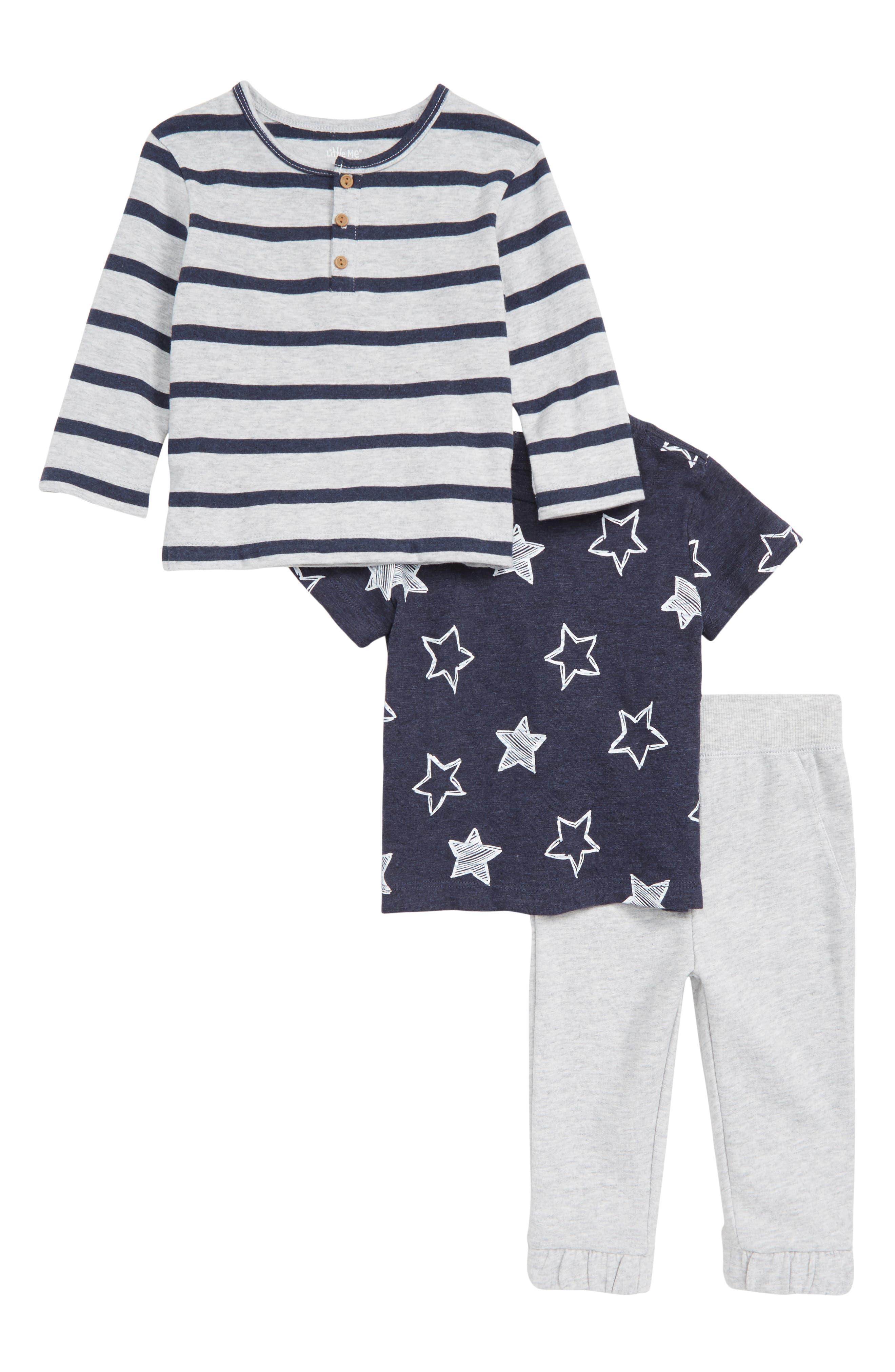 Stripe Henley, Star Print T-Shirt & Jogger Pants Set, Main, color, HEATHER GRAY