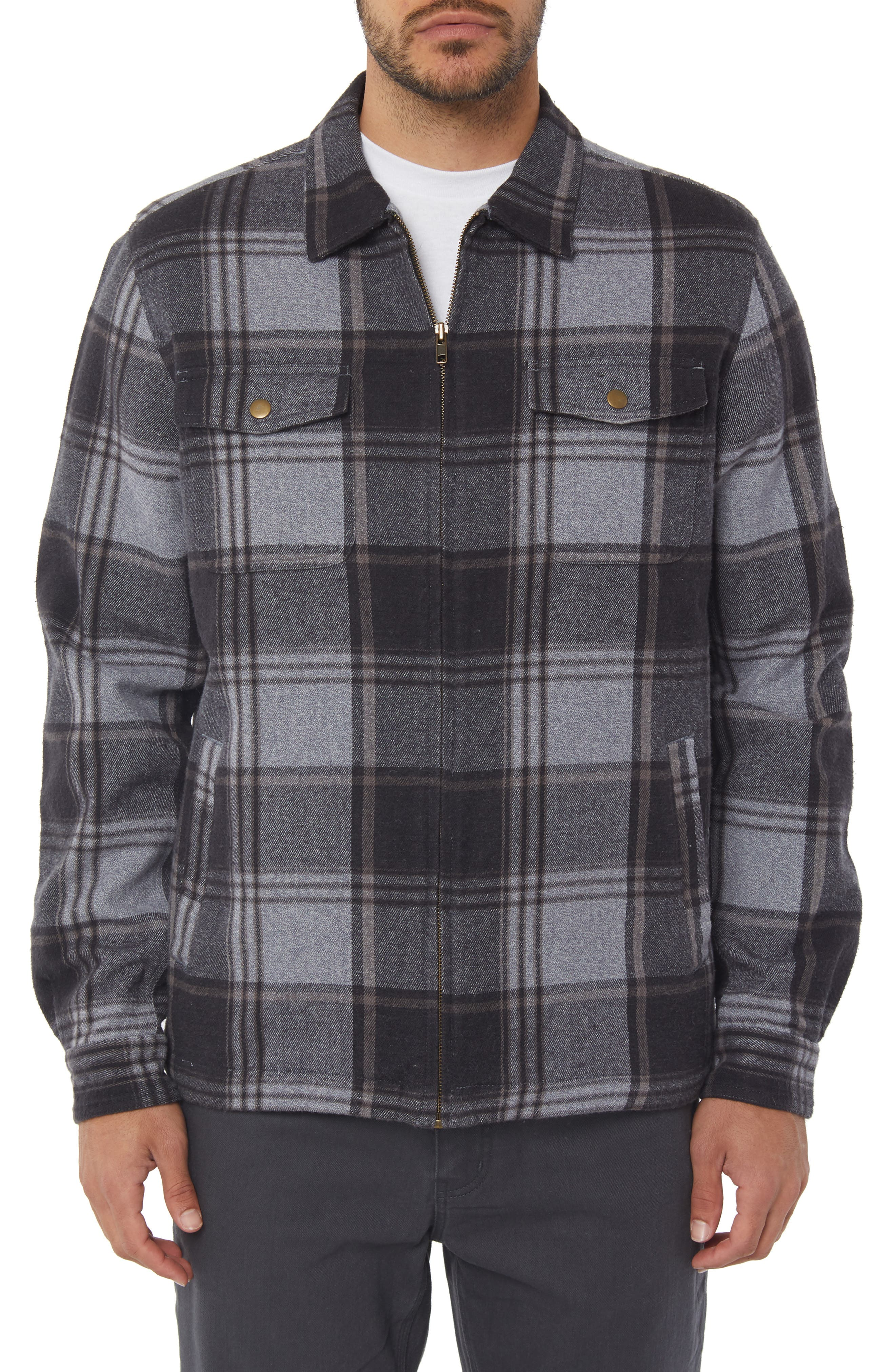 Lodge Flannel Shirt Jacket,                             Main thumbnail 1, color,                             ASPHALT