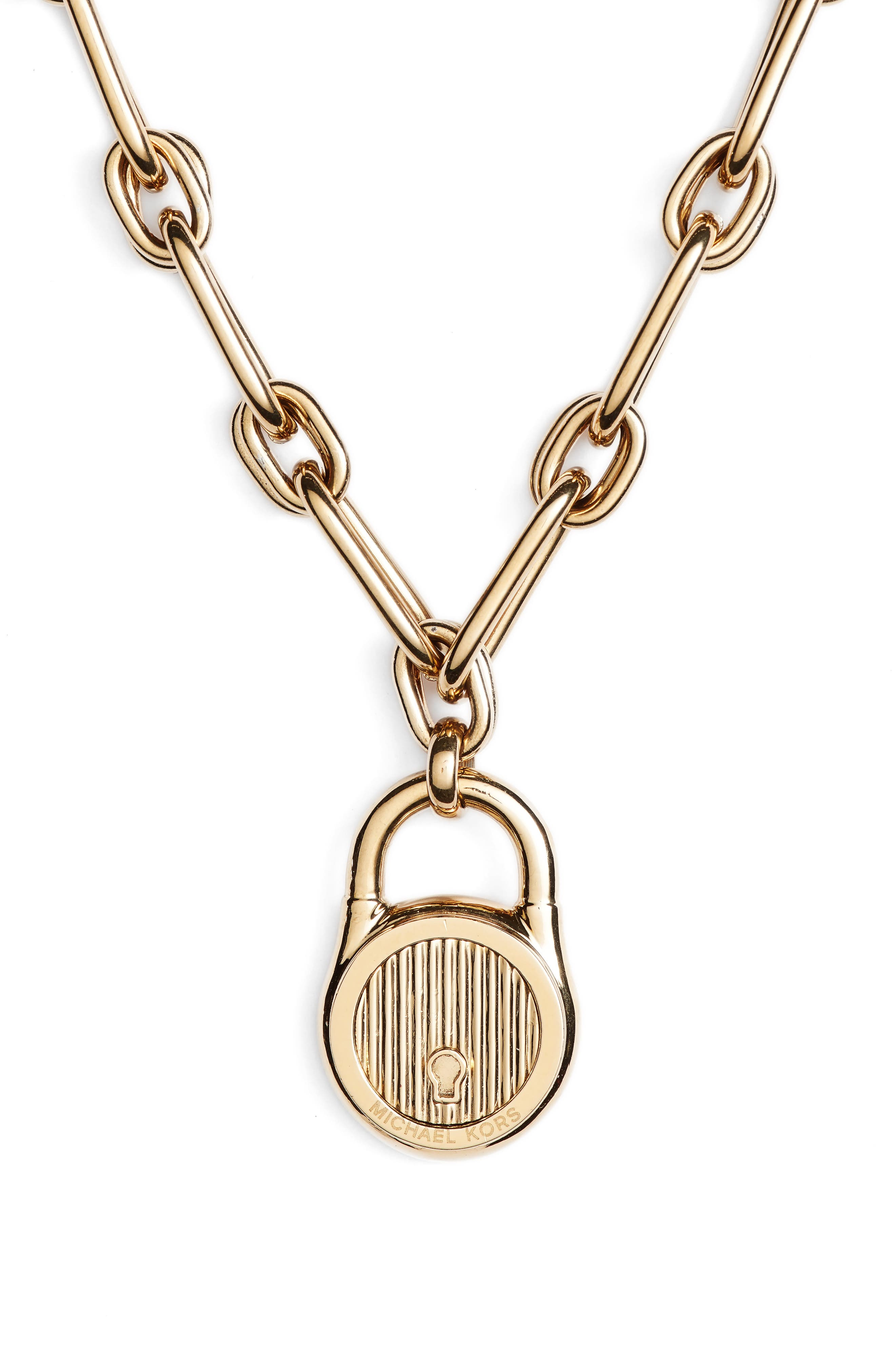 Padlock Pendant Necklace,                             Alternate thumbnail 4, color,