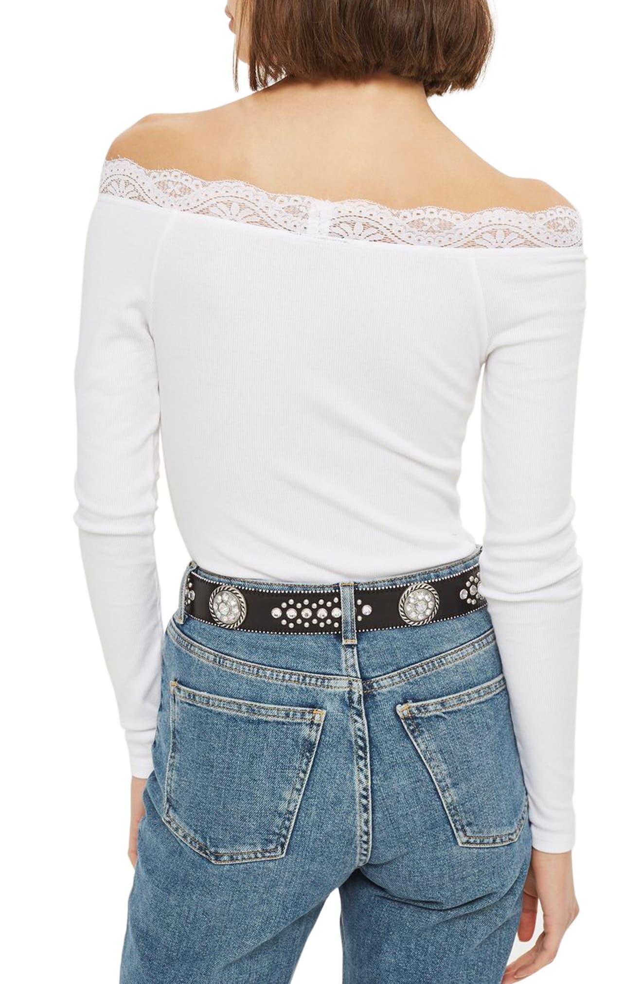 Lace Trim Off the Shoulder Bodysuit,                             Alternate thumbnail 5, color,