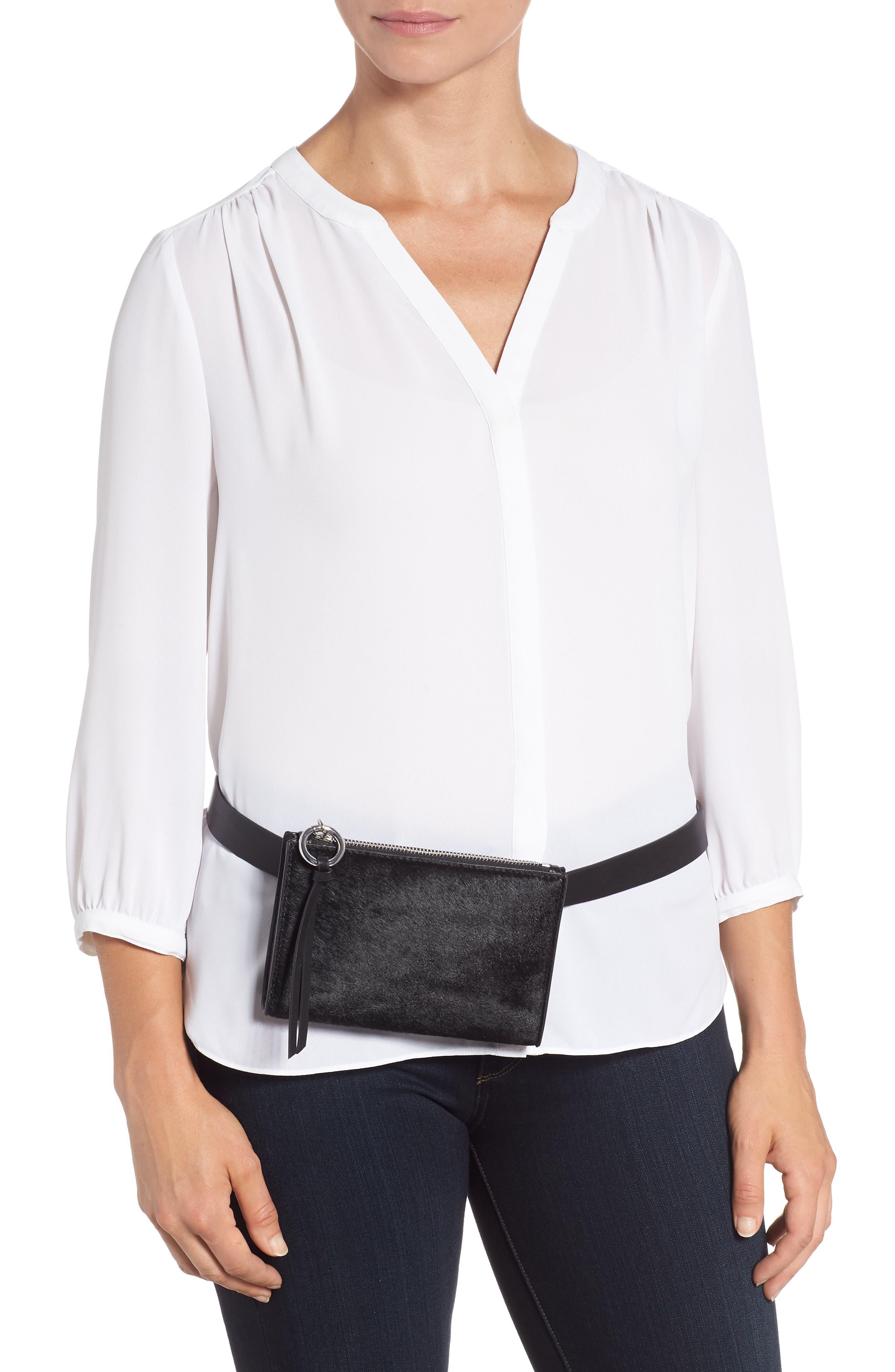 Ava Genuine Calf Hair Belt Bag,                             Alternate thumbnail 2, color,                             BLACK/ BLACK