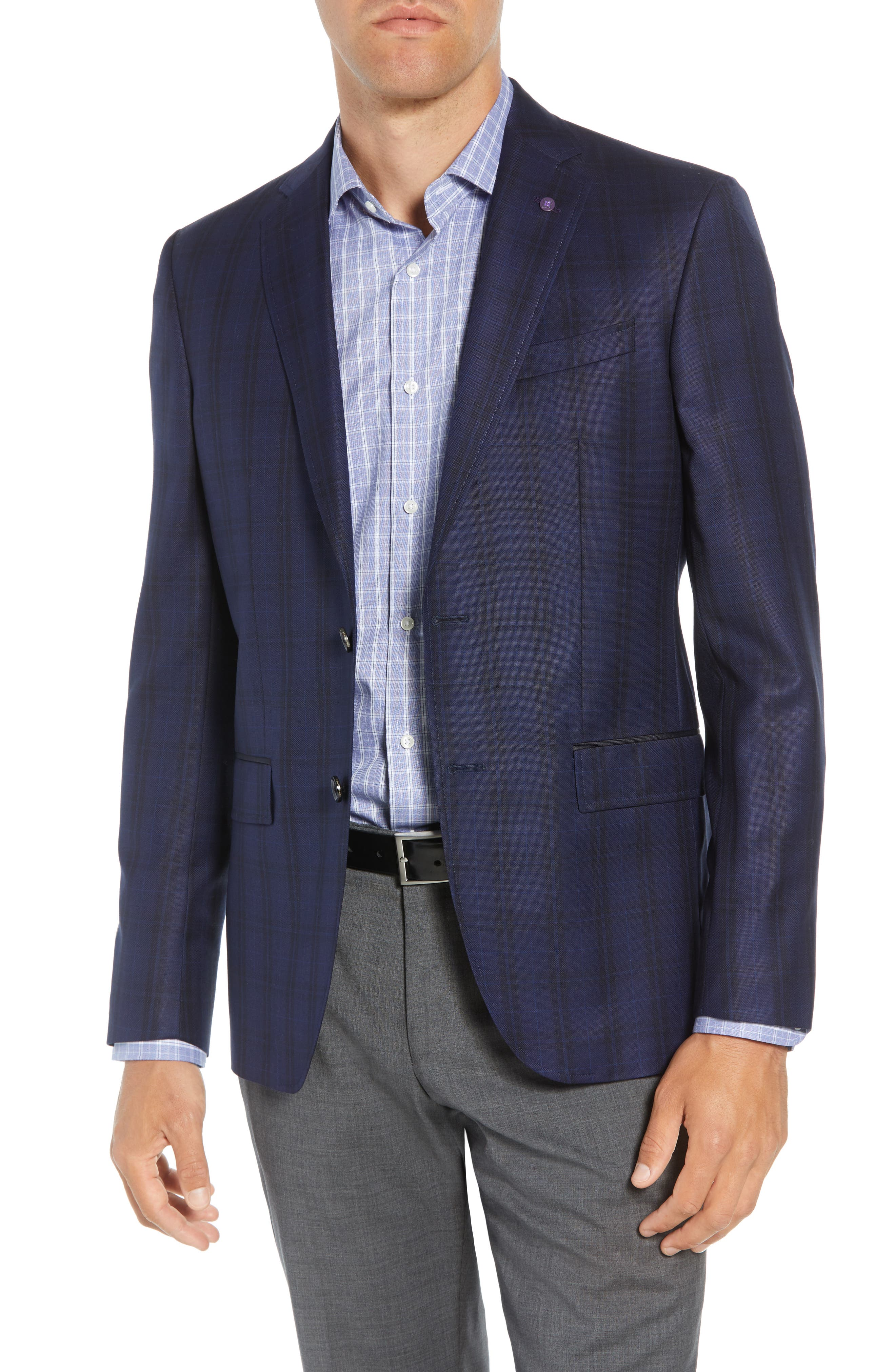 Jed Trim Fit Plaid Wool Sport Coat,                             Main thumbnail 1, color,                             400