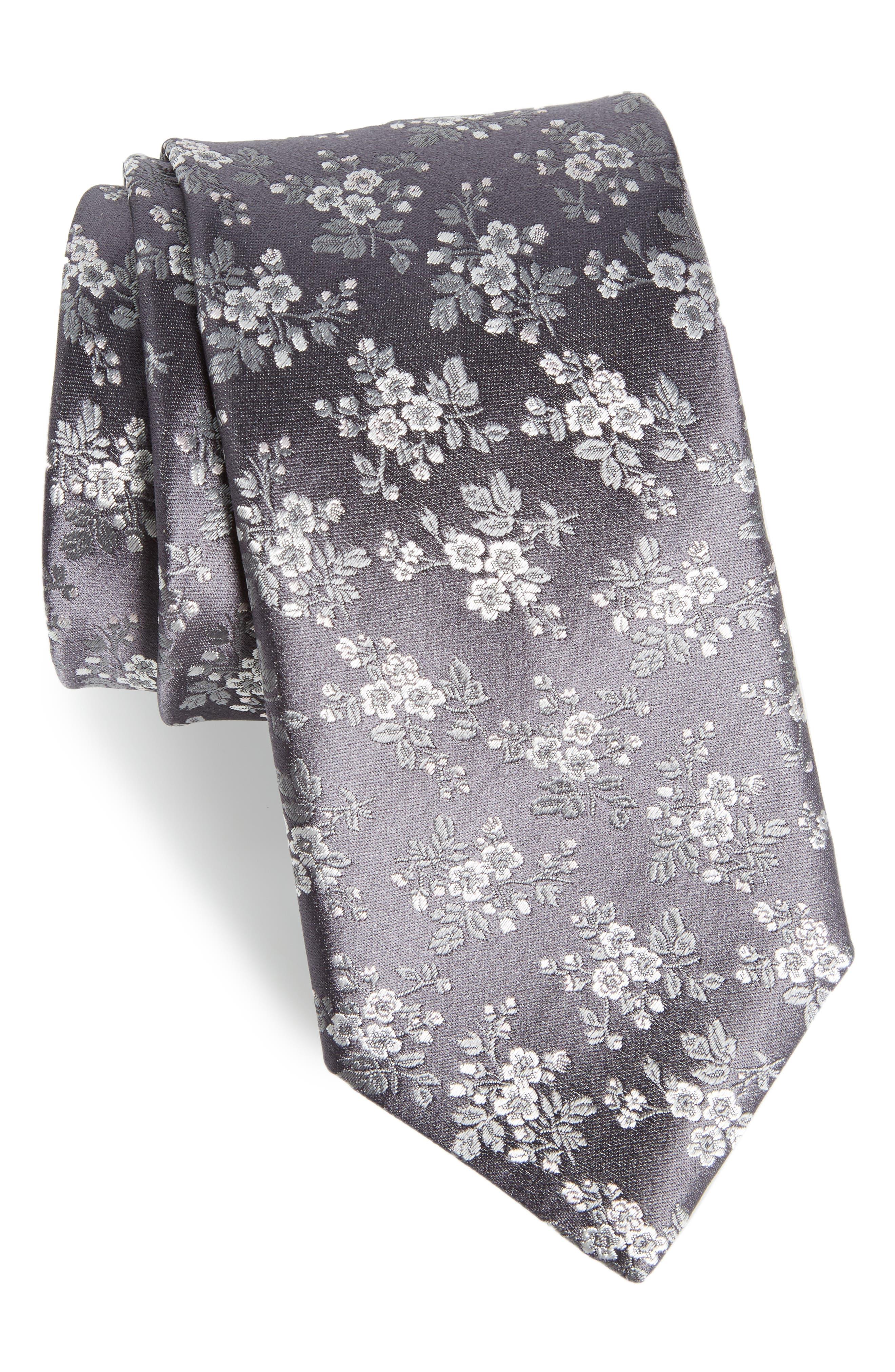 Floral Silk Tie,                         Main,                         color, 020