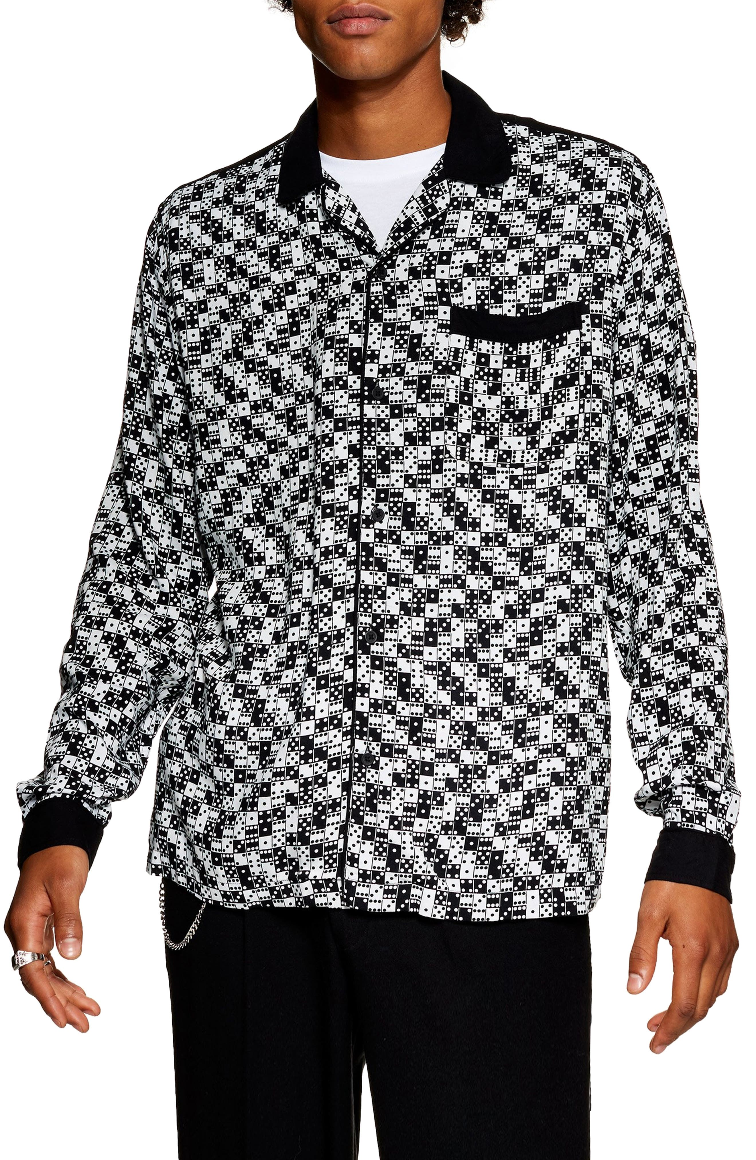 Bodders Domino Print Shirt,                         Main,                         color, BLACK MULTI