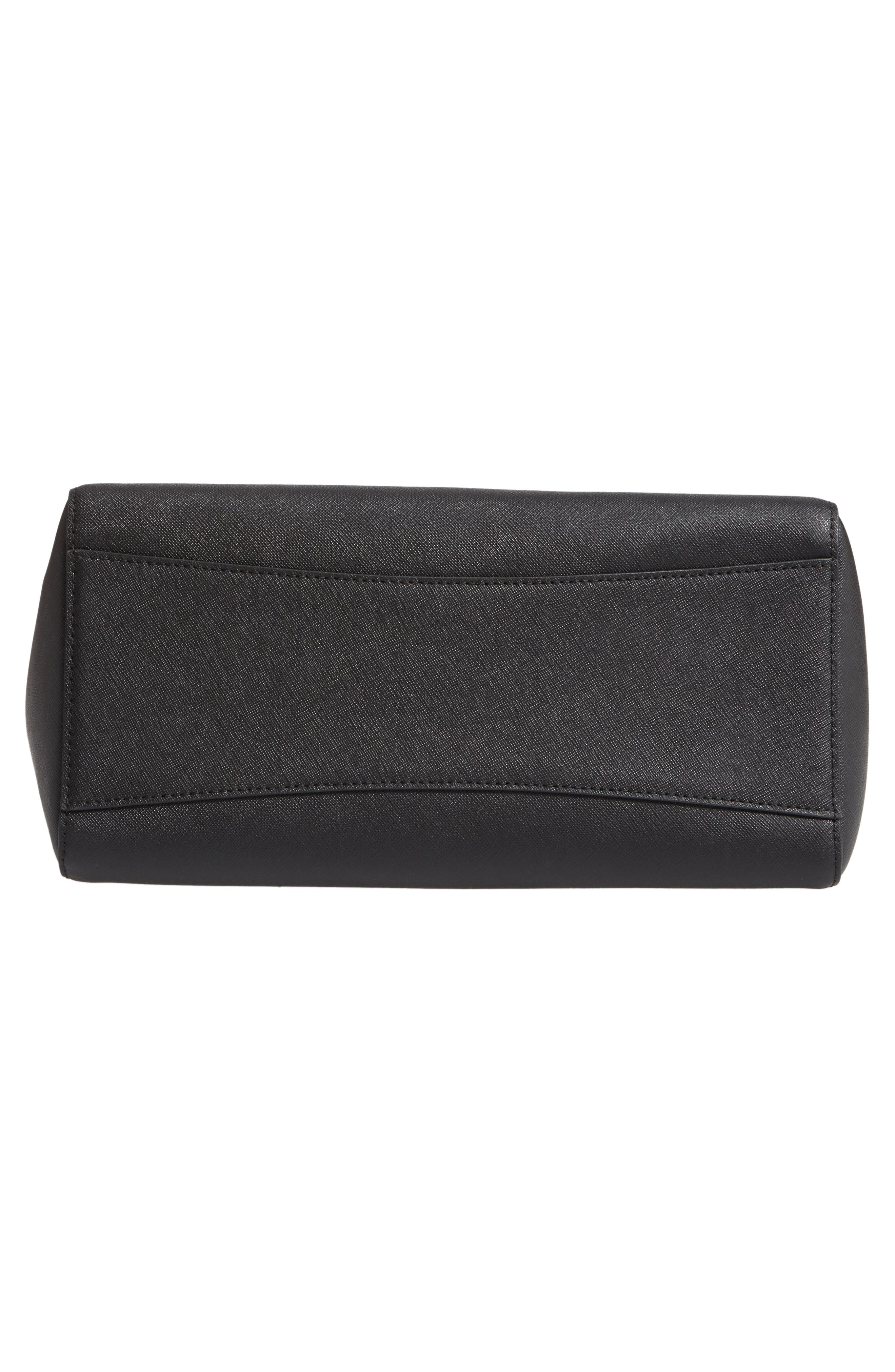 Small Robinson Saffiano Leather Tote,                             Alternate thumbnail 6, color,                             BLACK