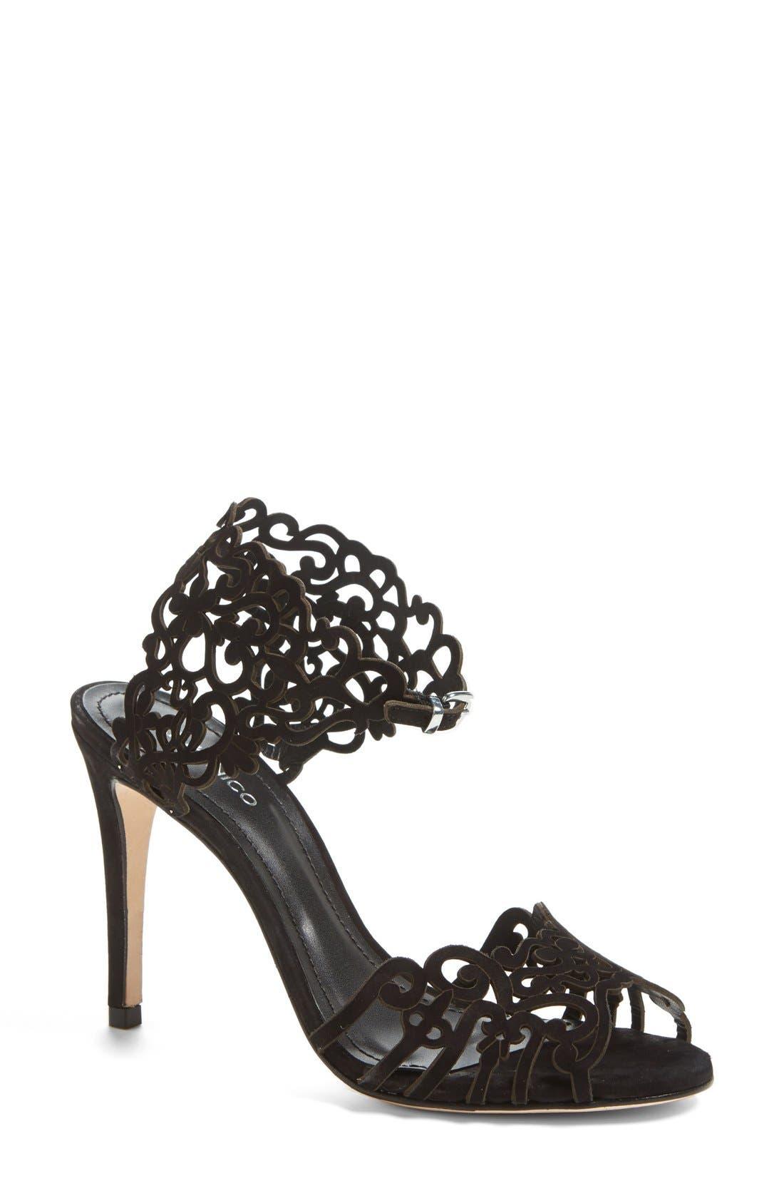 'Moxie' Laser Cutout Sandal,                         Main,                         color, BLACK