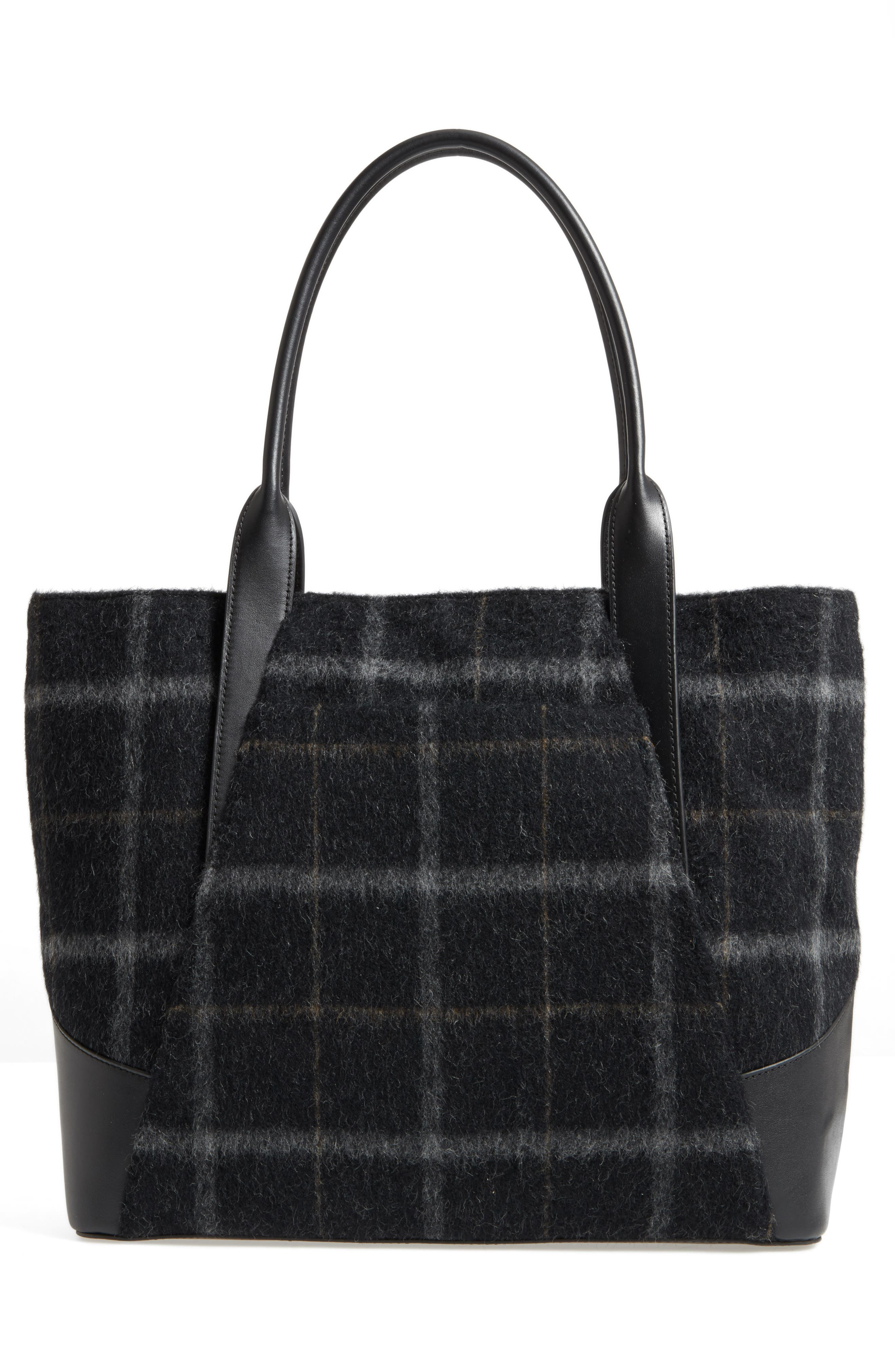 Aston Wool & Leather Tote,                             Alternate thumbnail 3, color,                             001
