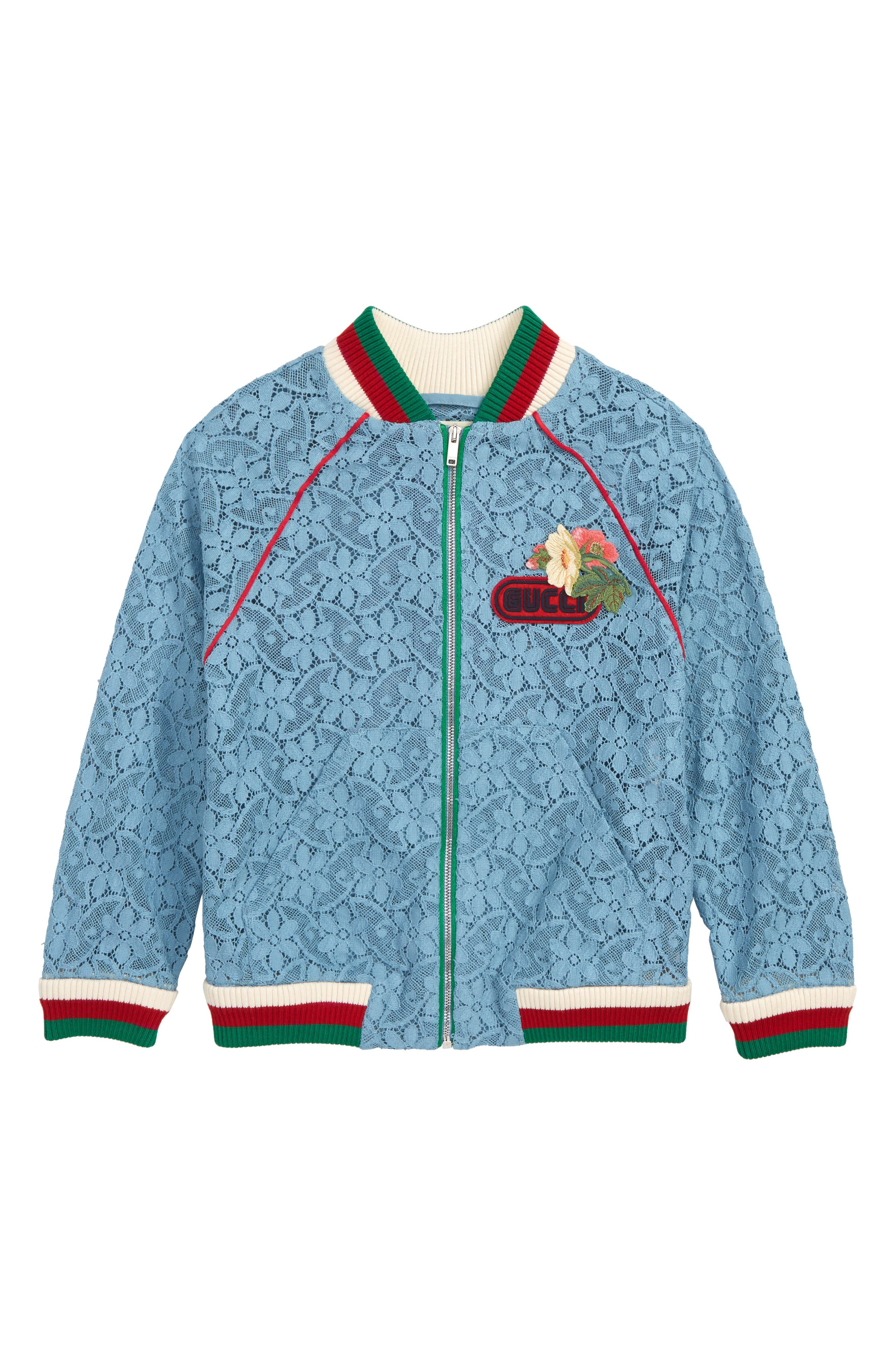 GUCCI,                             Lace Bomber Jacket,                             Main thumbnail 1, color,                             SEA CLEAR BLUE