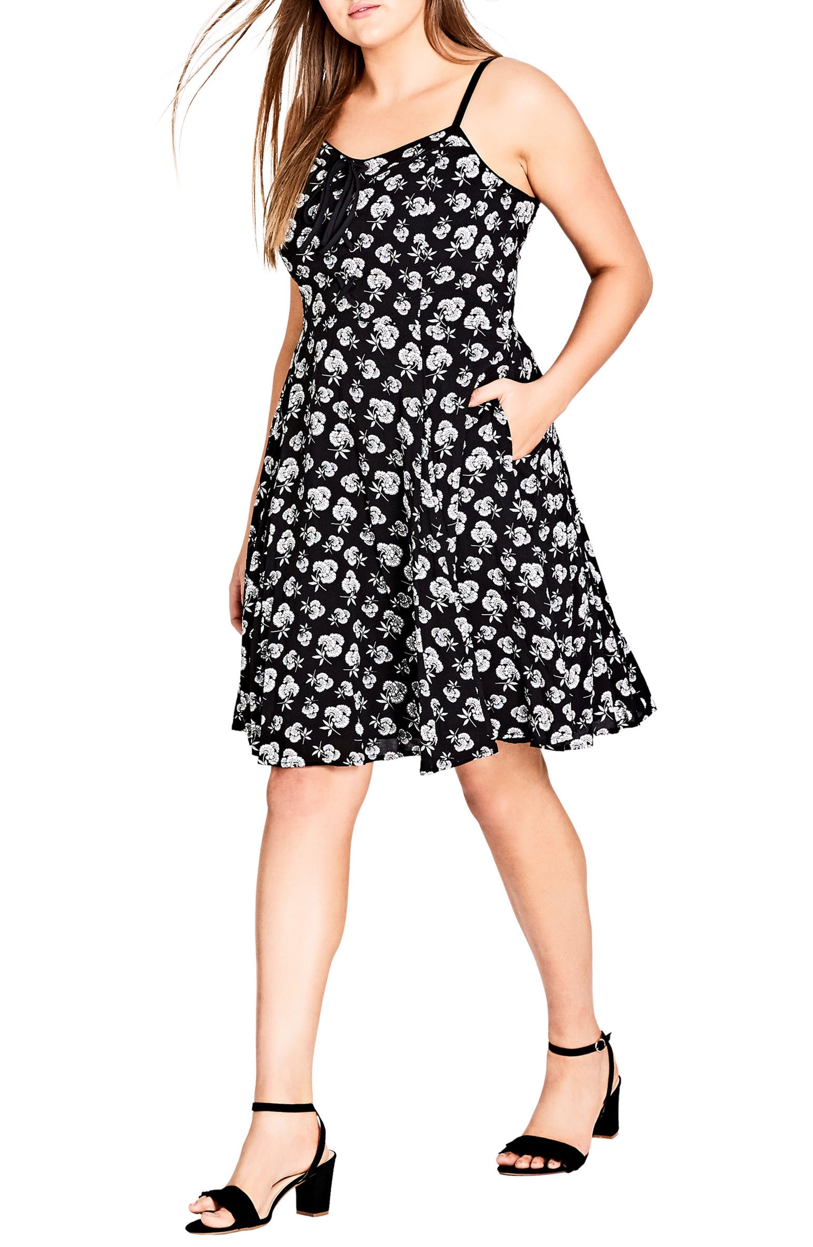 Plus Size City Chic Deco Floral A-Line Dress, Black
