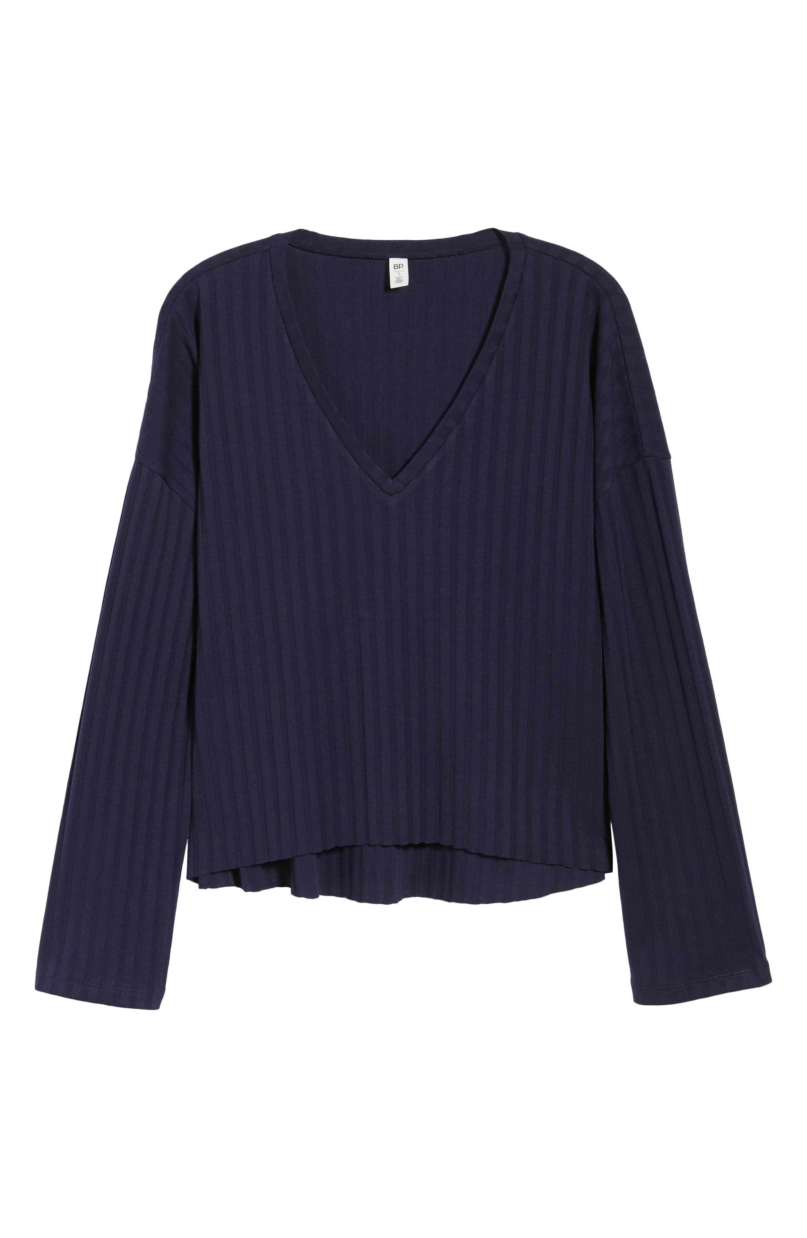 Wide Rib Crop Sweater,                             Alternate thumbnail 6, color,                             NAVY MARITIME