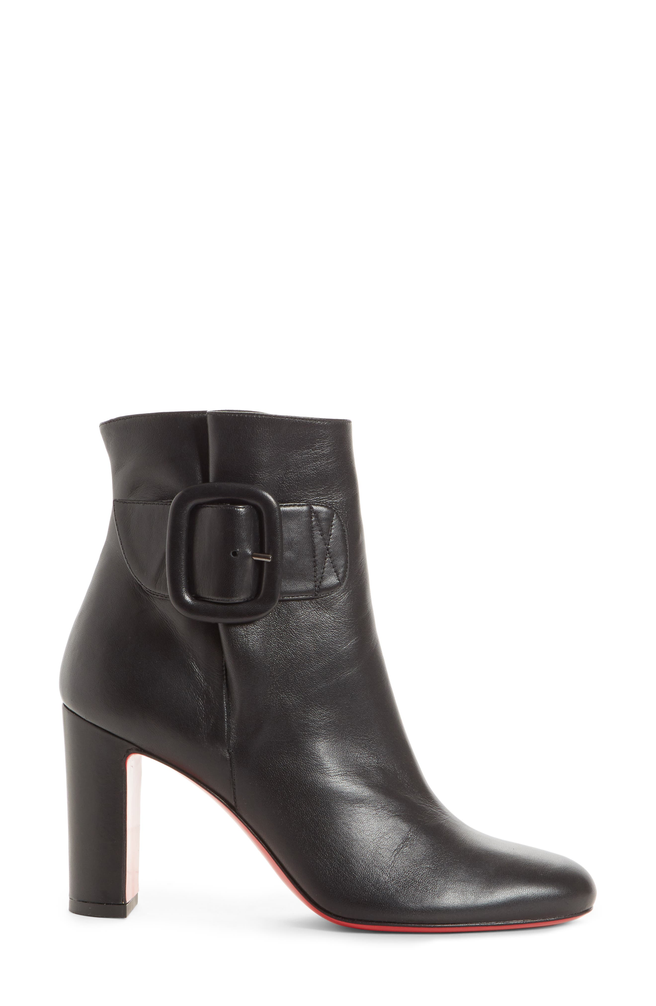 CHRISTIAN LOUBOUTIN,                             Tres Olivia Buckle Bootie,                             Alternate thumbnail 3, color,                             BLACK LEATHER