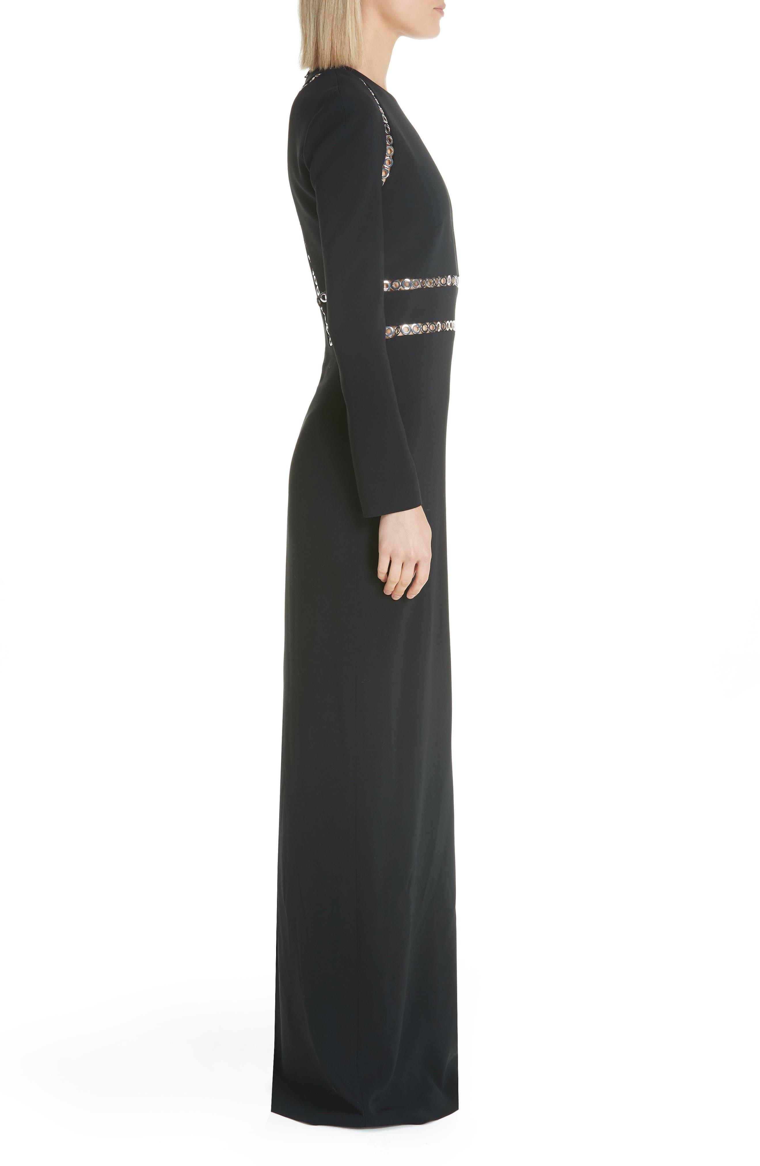Grommet Trim Gown,                             Alternate thumbnail 3, color,                             BLACK