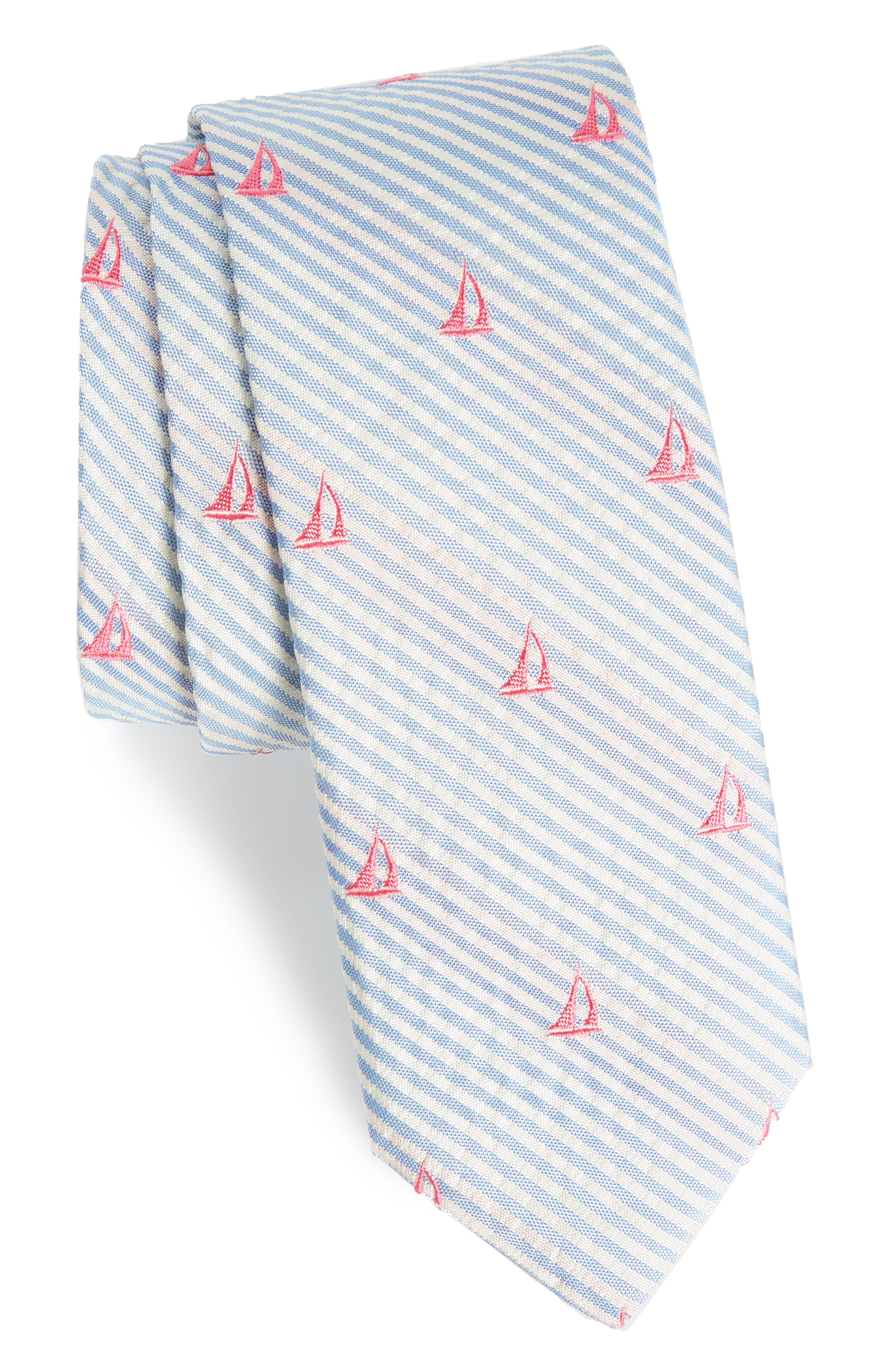 Seersucker Boat Silk Tie,                         Main,                         color, 484