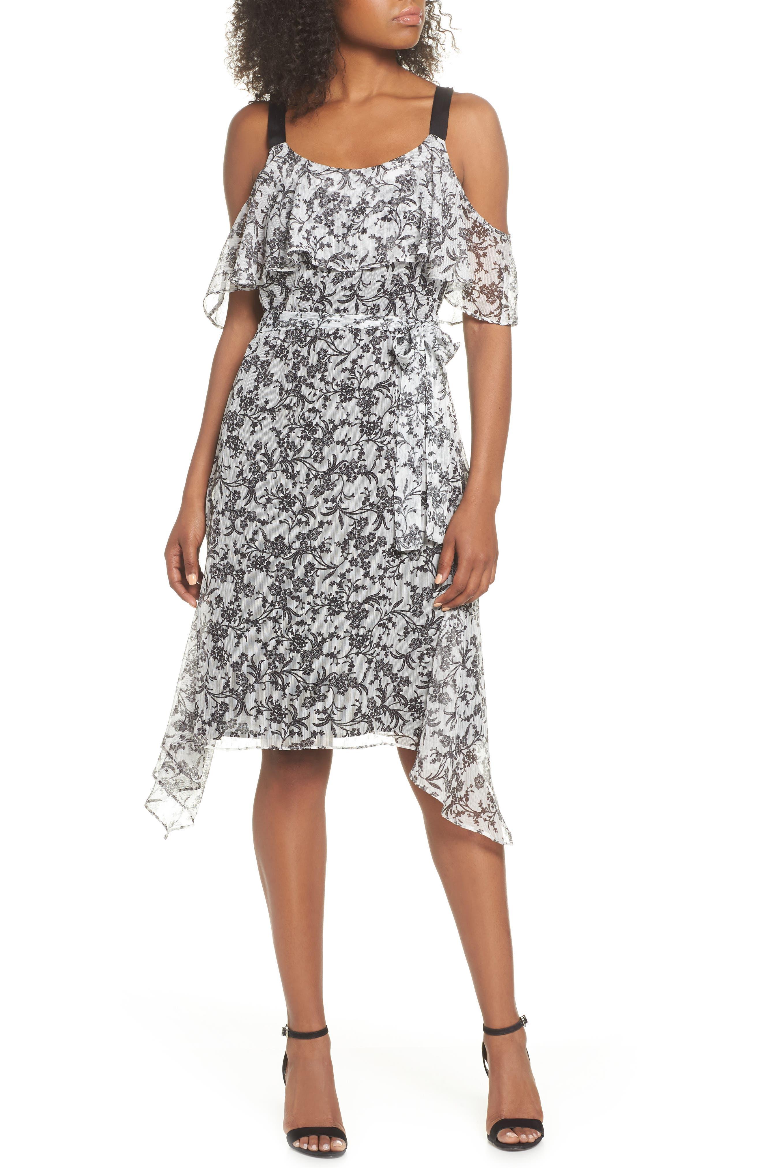 Cold Shoulder Chiffon Dress,                             Main thumbnail 1, color,                             114