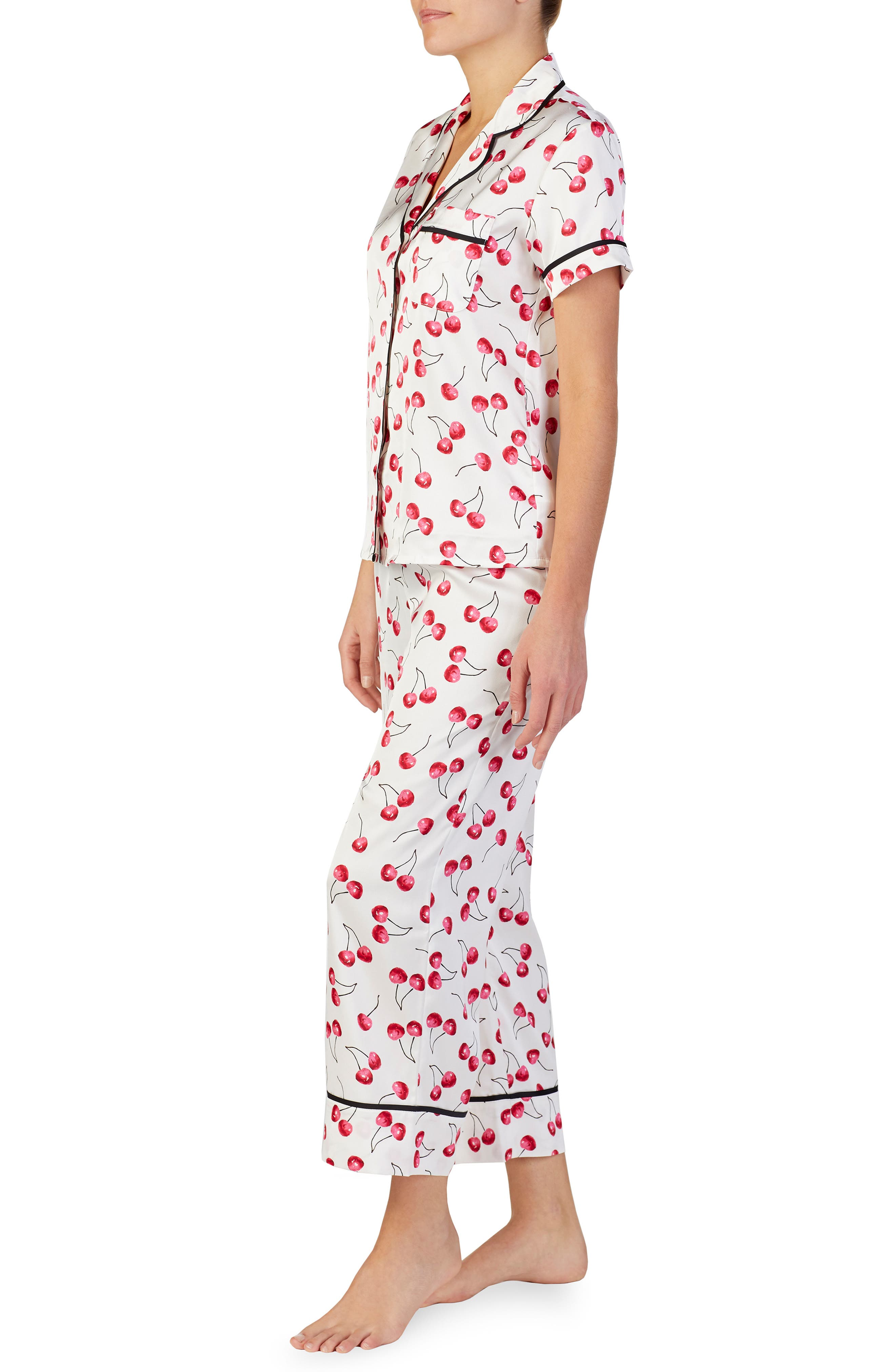 cropped pajamas,                             Alternate thumbnail 3, color,                             CHERRY TOSS