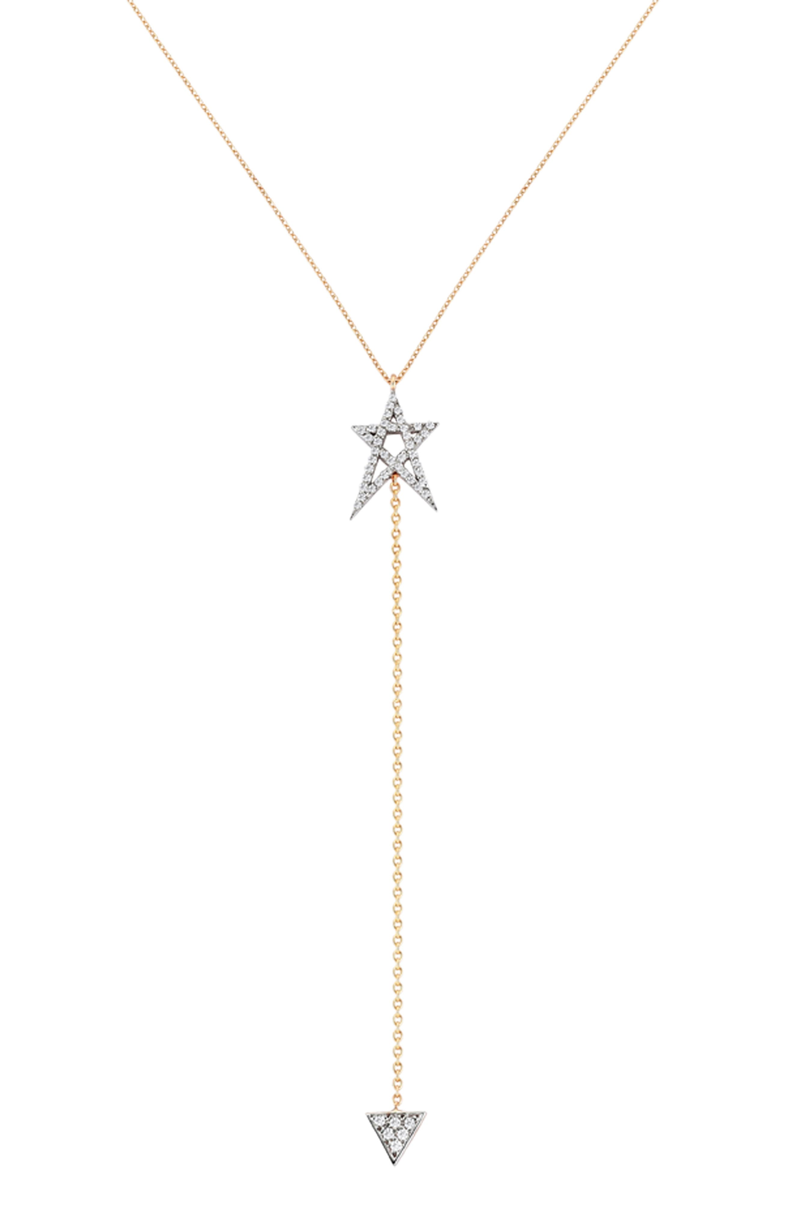 Struck Doodlestar Diamond Y-Necklace,                             Main thumbnail 1, color,                             ROSE GOLD