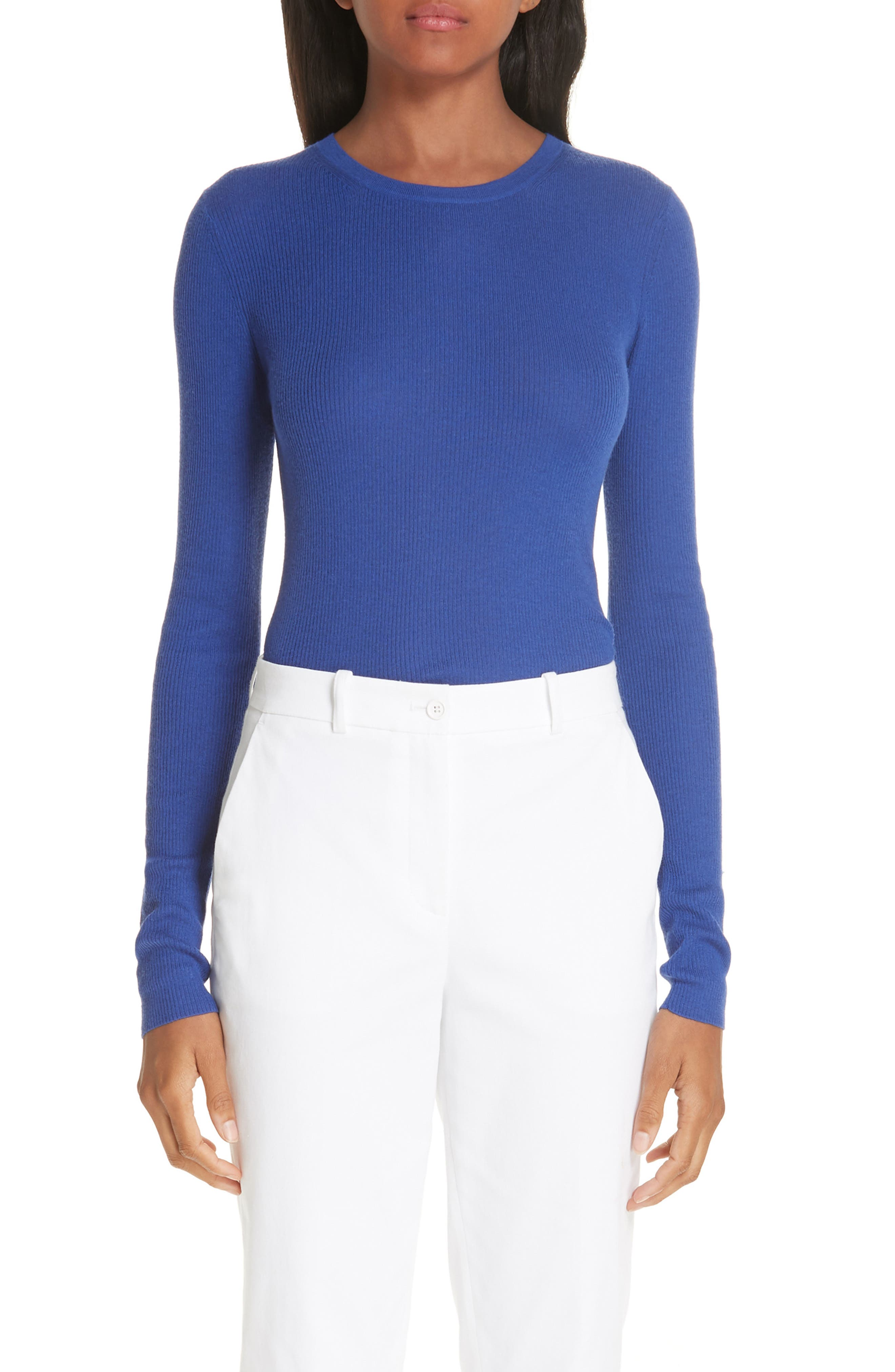 Ribbed Crewneck Sweater,                             Main thumbnail 1, color,                             LAPIS