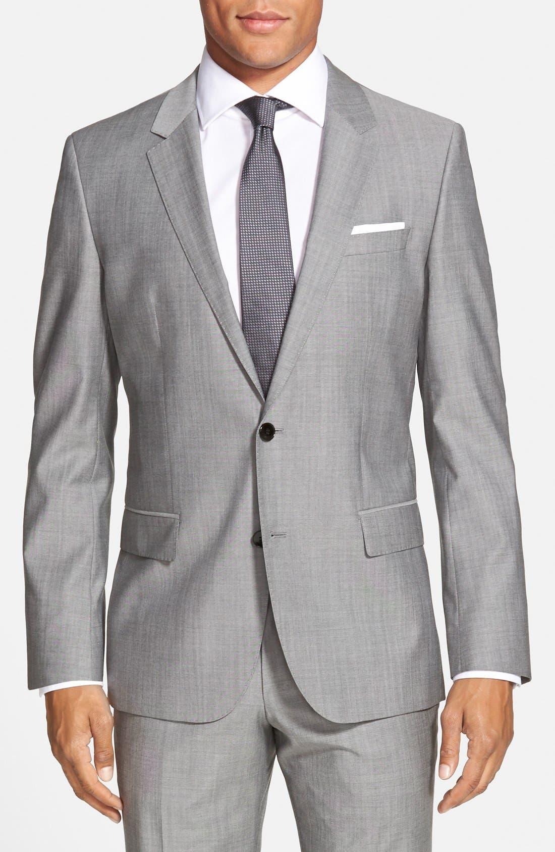 'Huge/Genius' Trim Fit Solid Wool Suit,                             Alternate thumbnail 13, color,                             PEARL GREY
