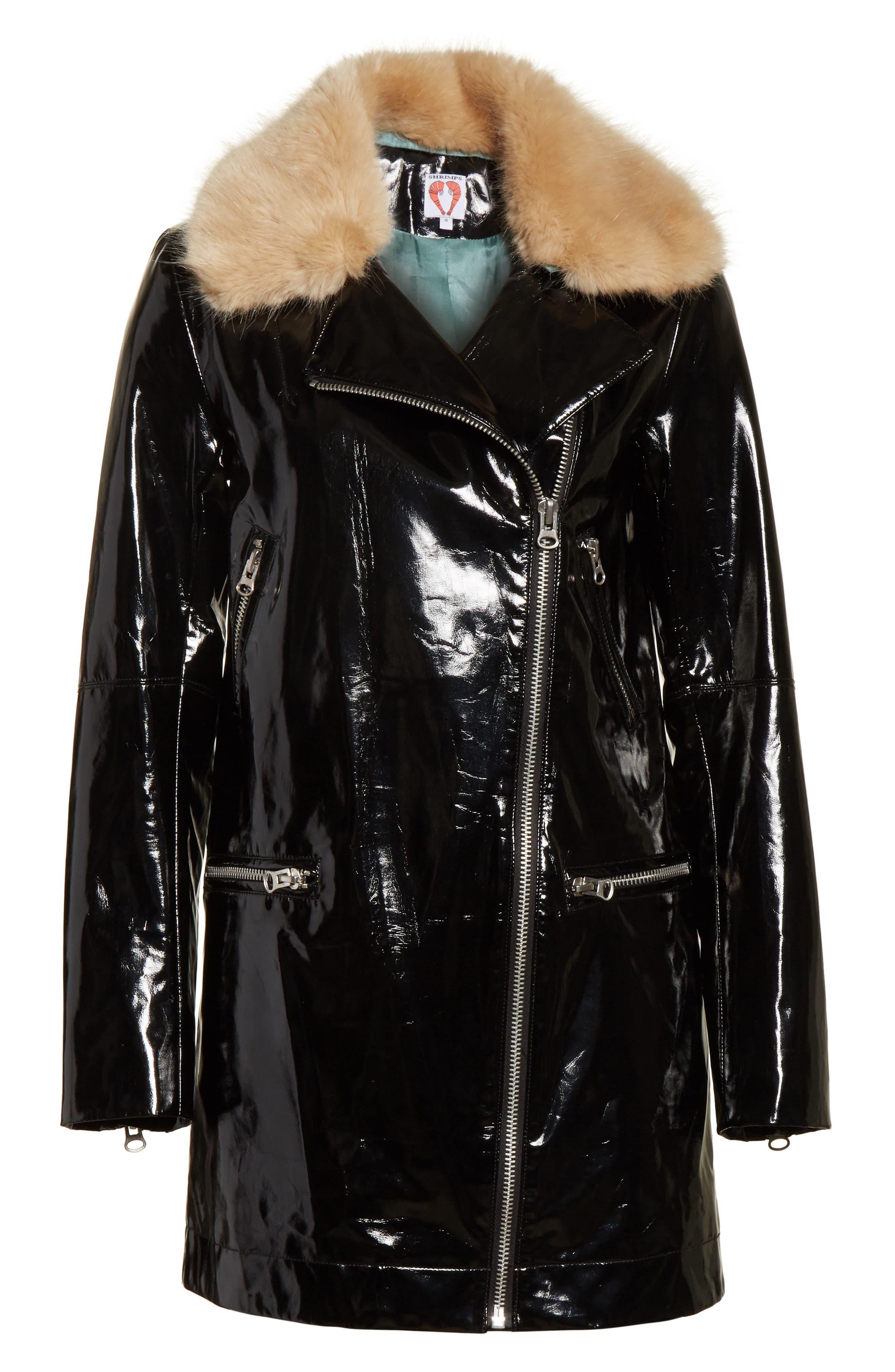 Olwen Faux Leather Long Biker Coat with Faux Fur Collar,                             Alternate thumbnail 6, color,                             001