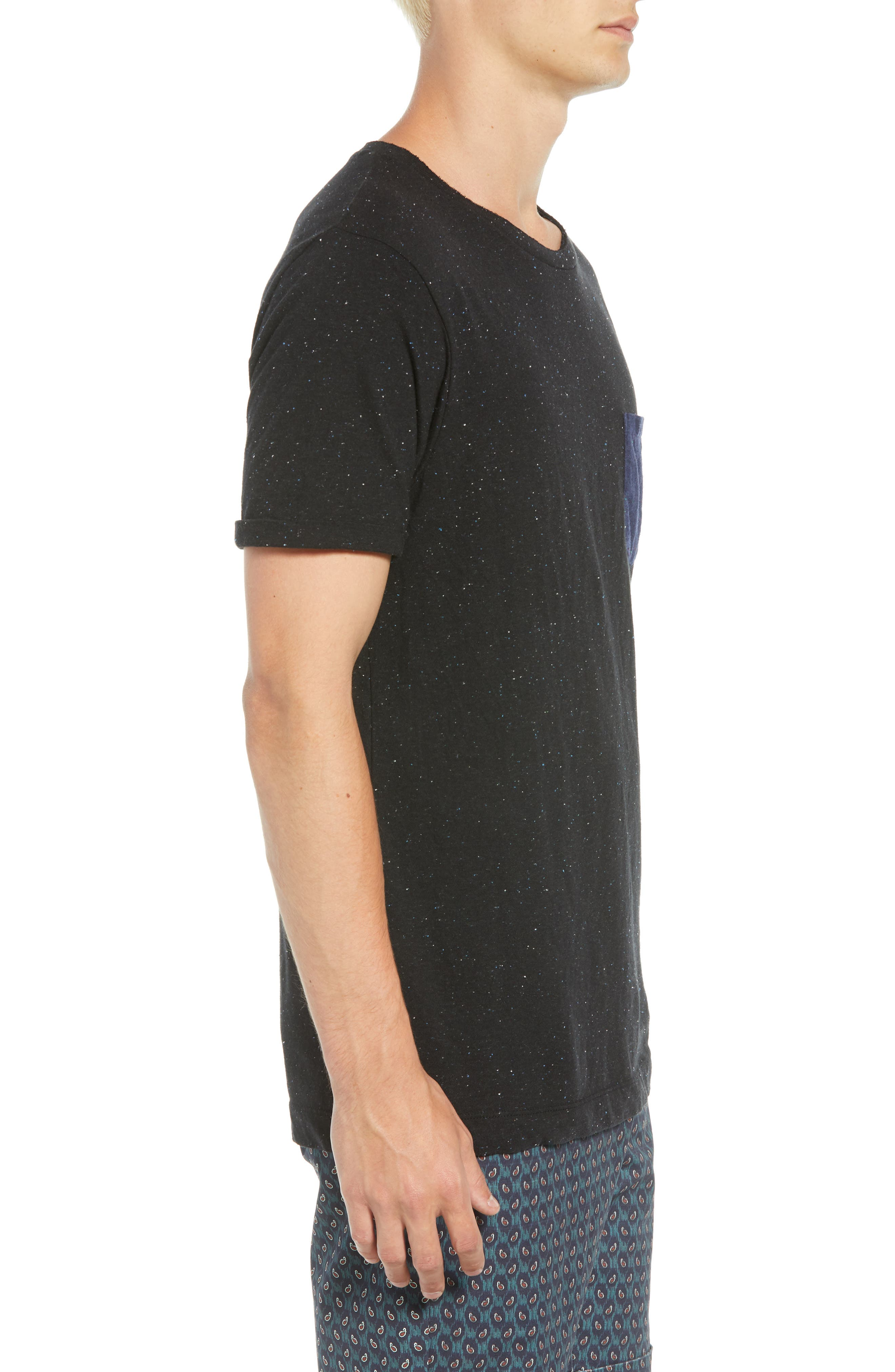 Nep Jersey Pocket T-Shirt,                             Alternate thumbnail 3, color,                             BLACK MELANGE
