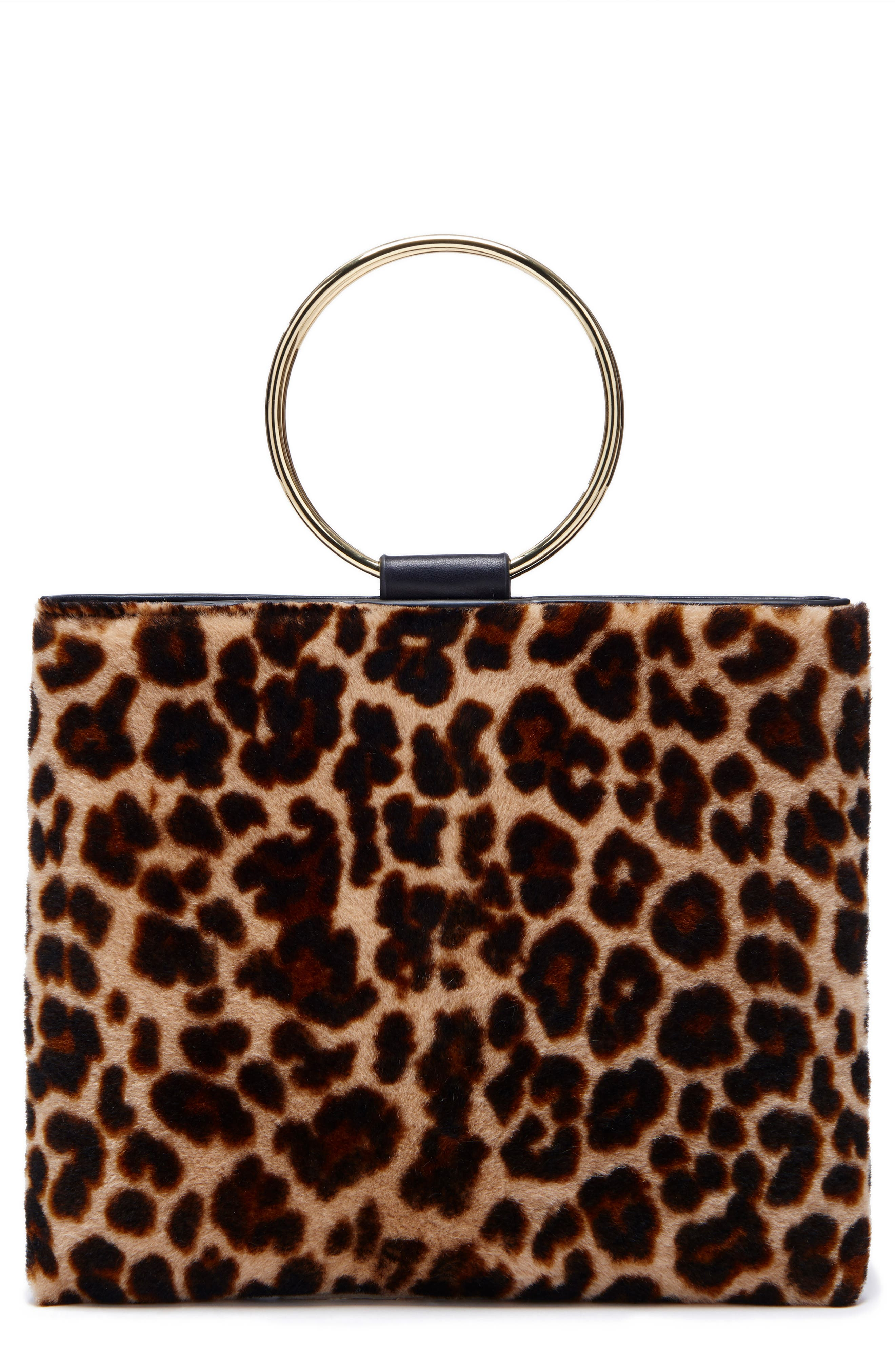 Le Pouch Genuine Shearling Ring Handle Crossbody Bag,                             Main thumbnail 1, color,                             001