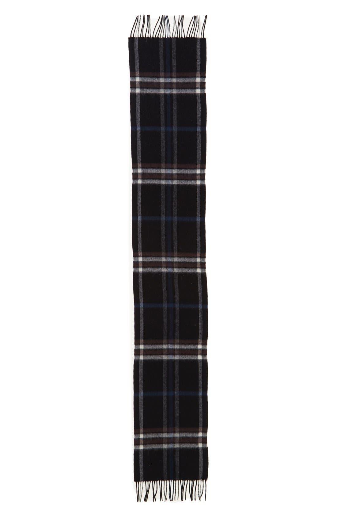 Clean Plaid Wool Scarf,                             Alternate thumbnail 3, color,                             001