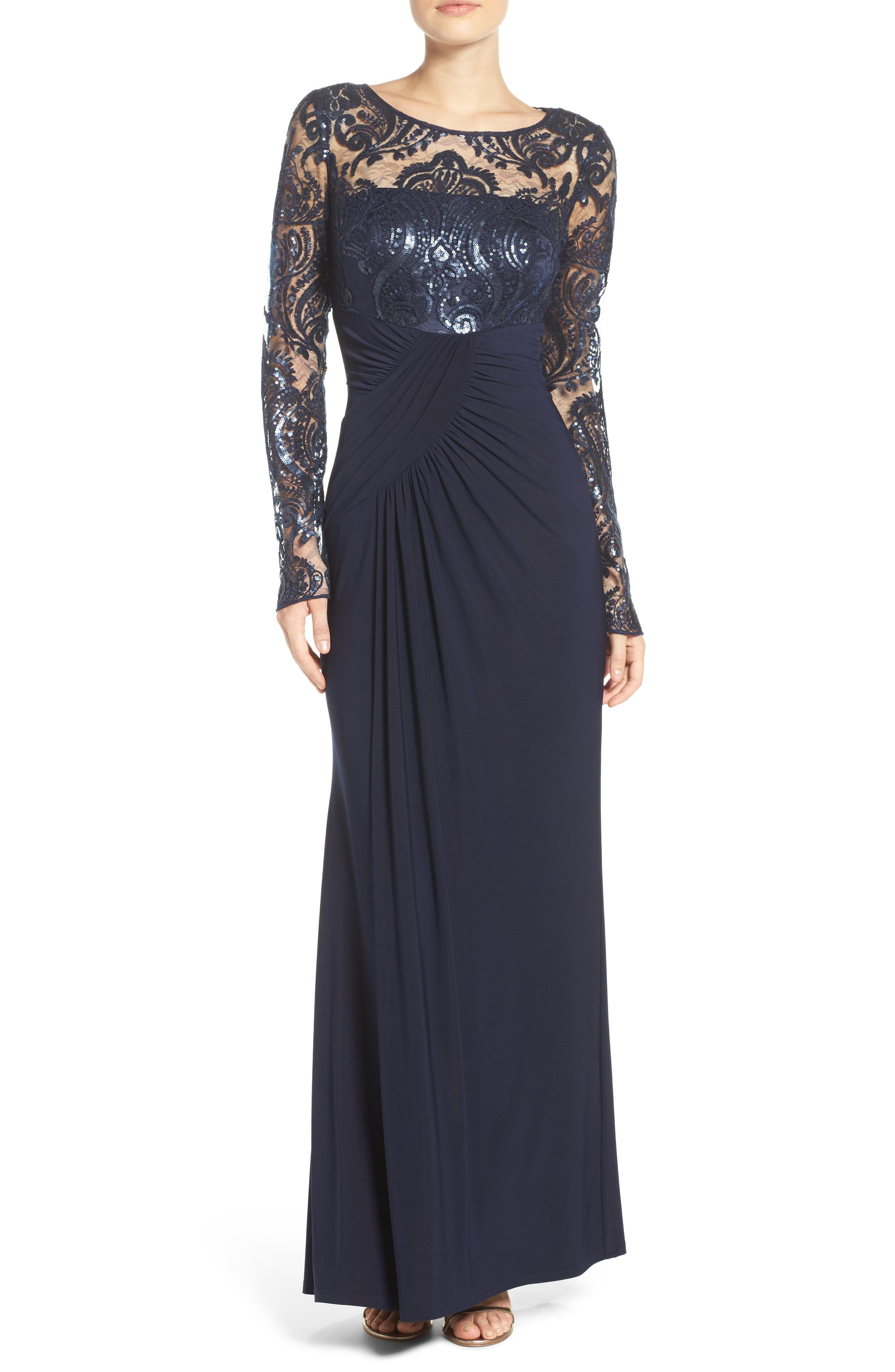 Draped Long Sleeve Gown,                             Alternate thumbnail 2, color,                             410