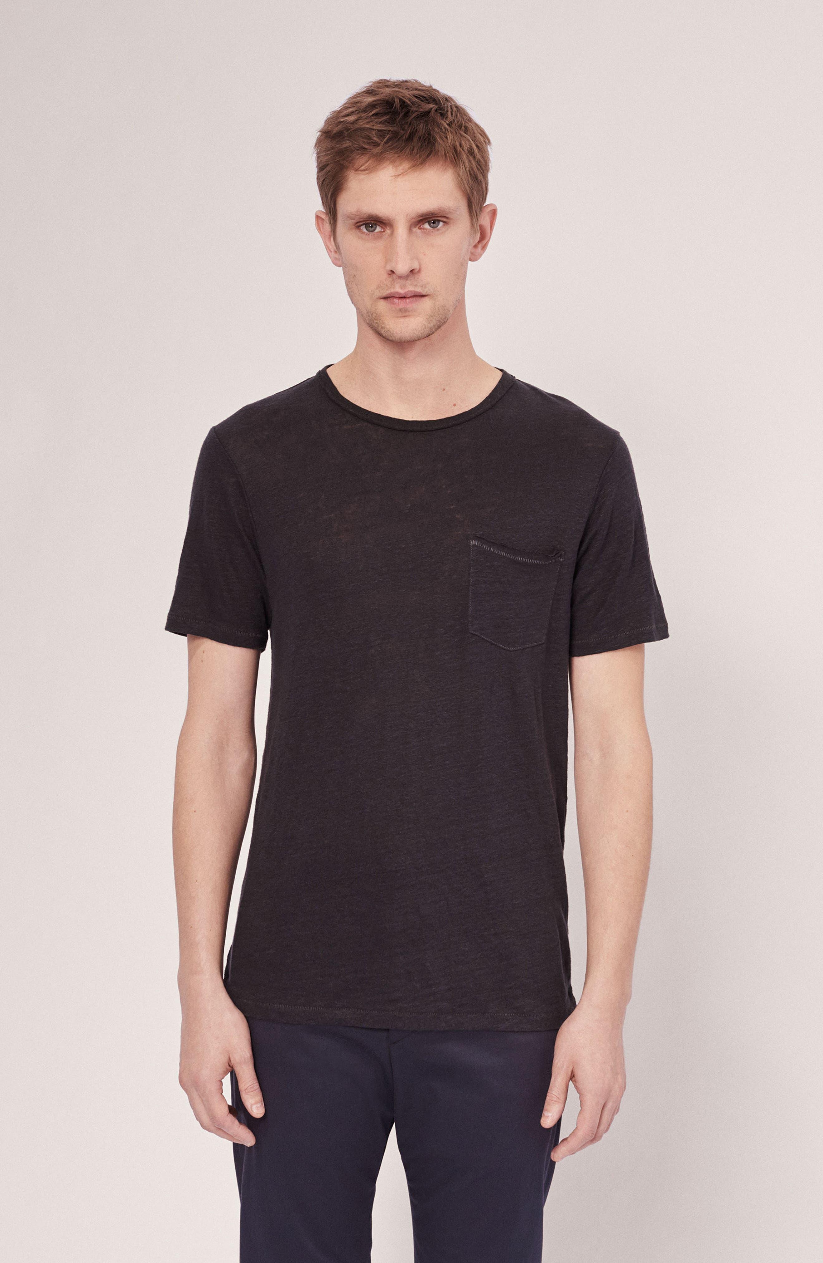 Owen Slub Linen T-Shirt,                             Alternate thumbnail 6, color,                             001