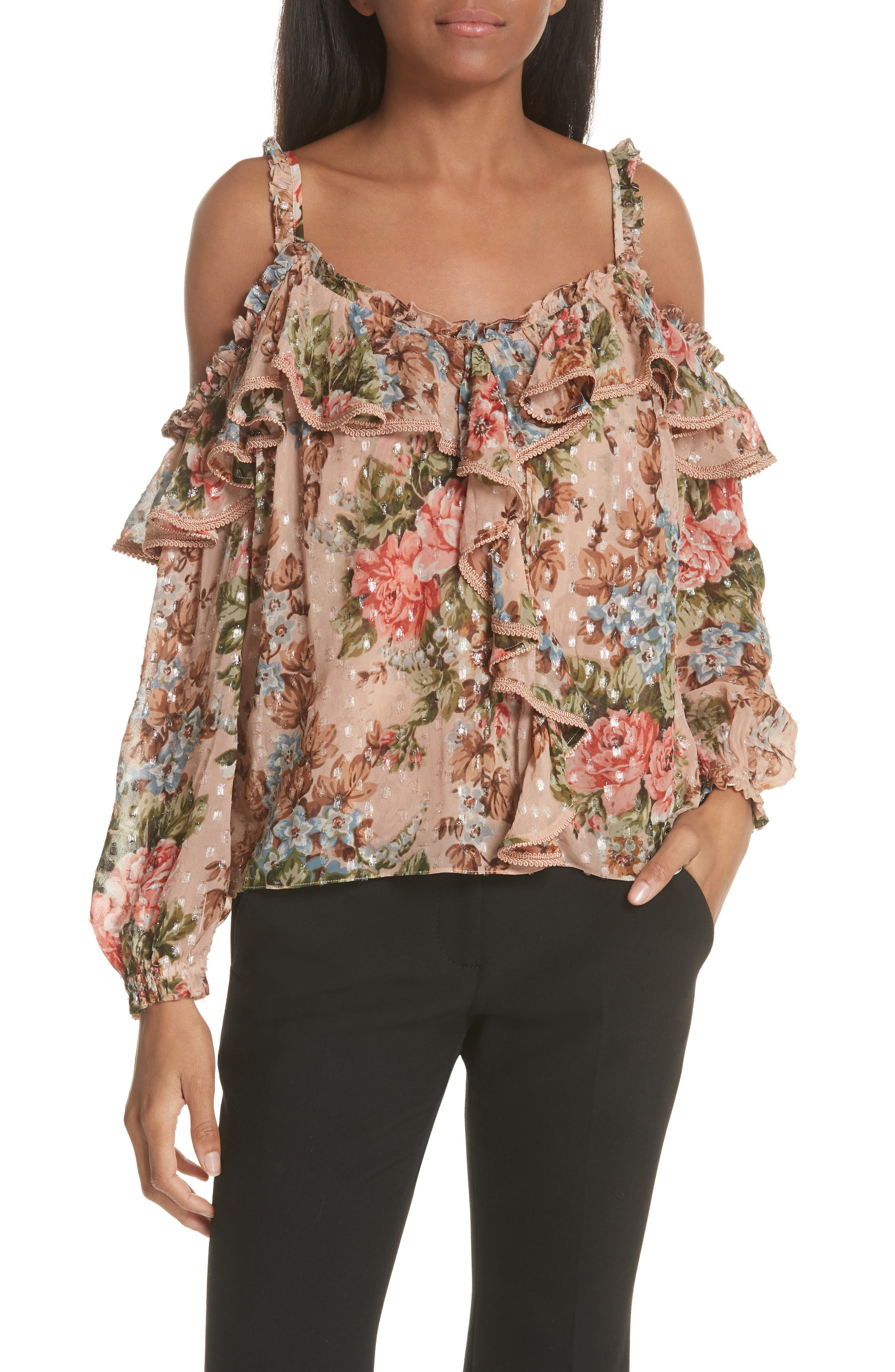 Paradise Rose Shimmer Top,                         Main,                         color, ROSE QUARTZ