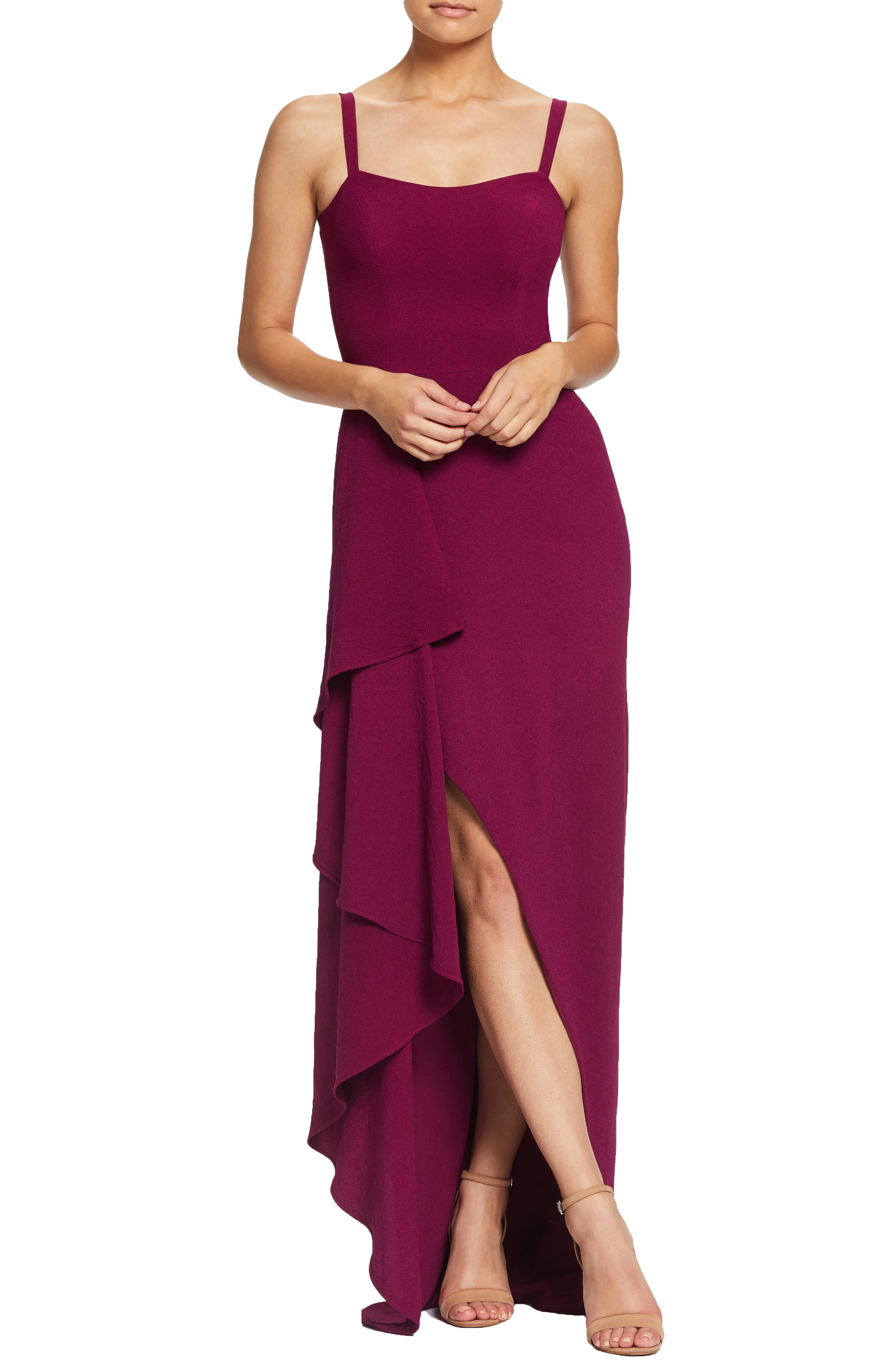 Dress The Population Cora Sleeveless Waterfall Crepe Gown, Pink