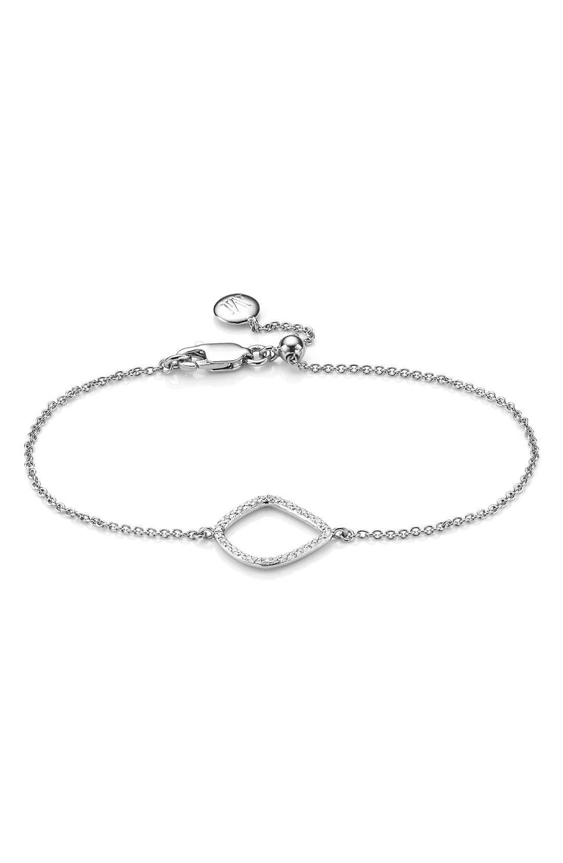 Riva Kite Adjustable Diamond Bracelet,                             Main thumbnail 1, color,                             SILVER