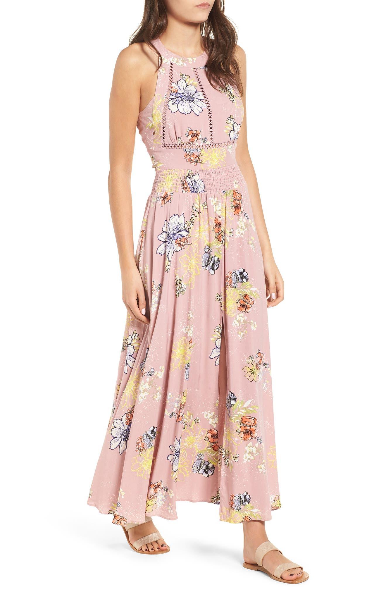 Floral Print Halter Maxi Dress,                         Main,                         color, PINK EGRET ABSTRACT FLORAL