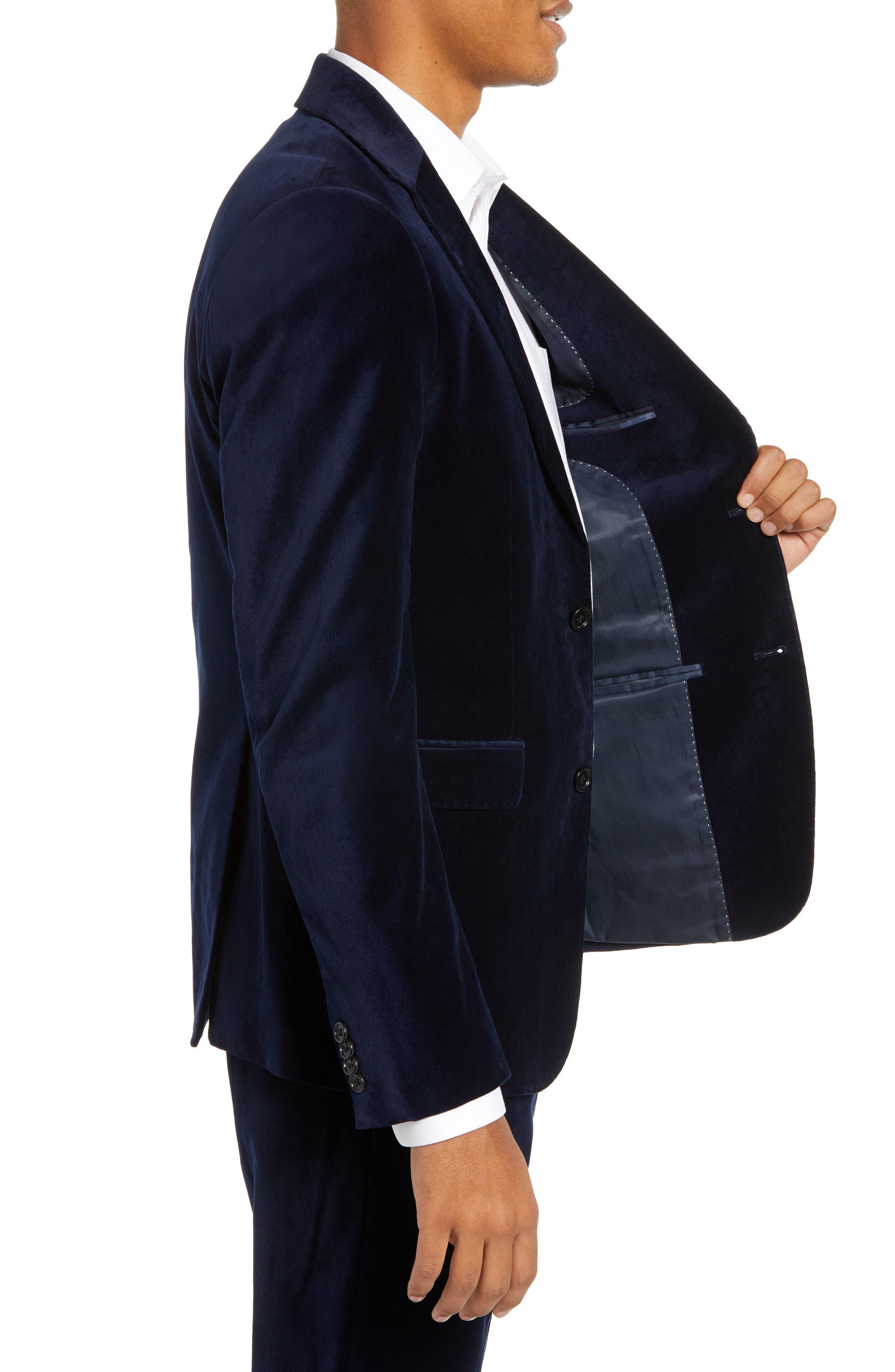 FRENCH CONNECTION,                             Regular Fit Plush Velveteen Blazer,                             Alternate thumbnail 3, color,                             BLUE BLOOD