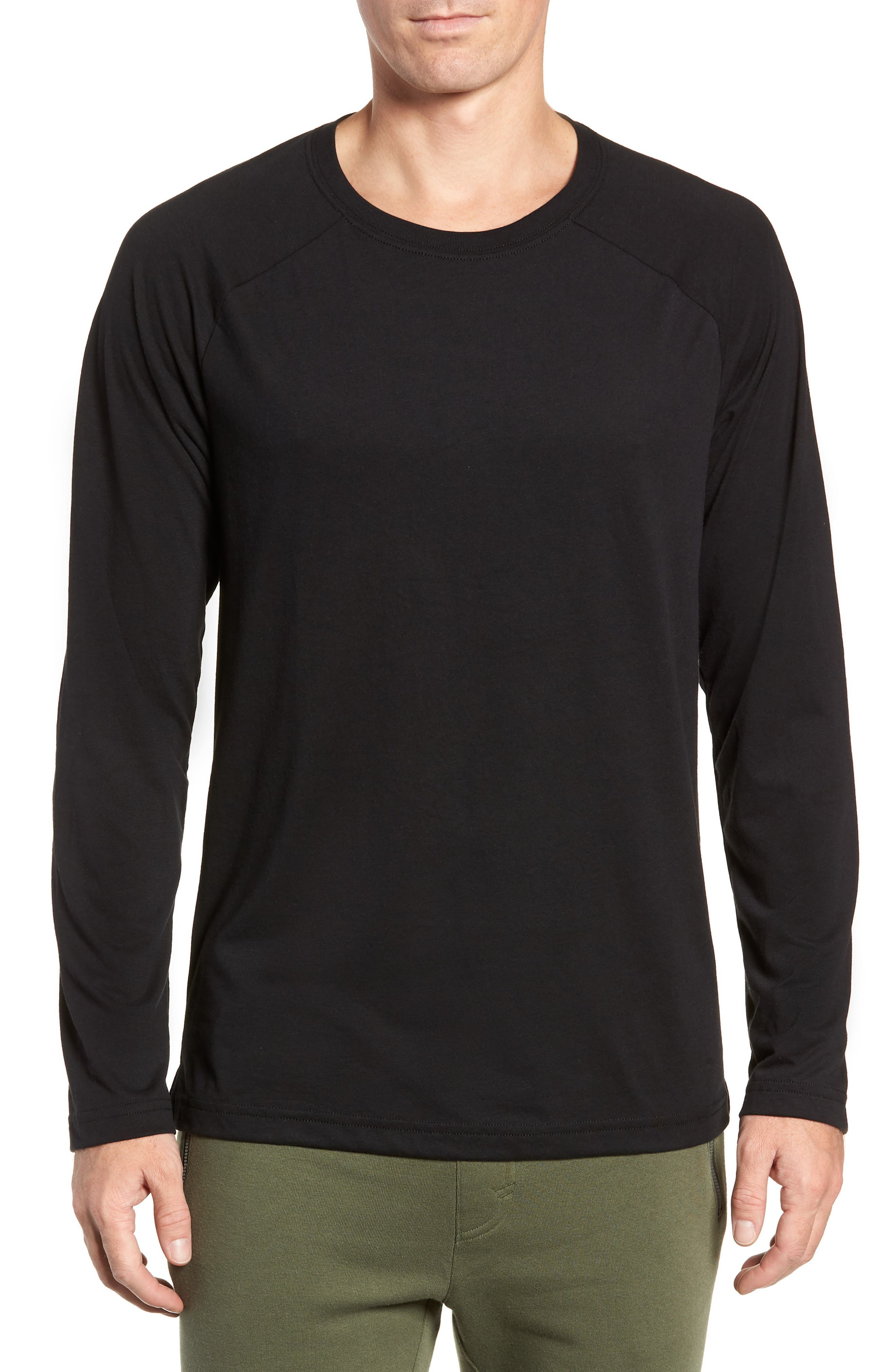 Triumph Raglan Long Sleeve T-Shirt,                         Main,                         color, SOLID BLACK TRIBLEND