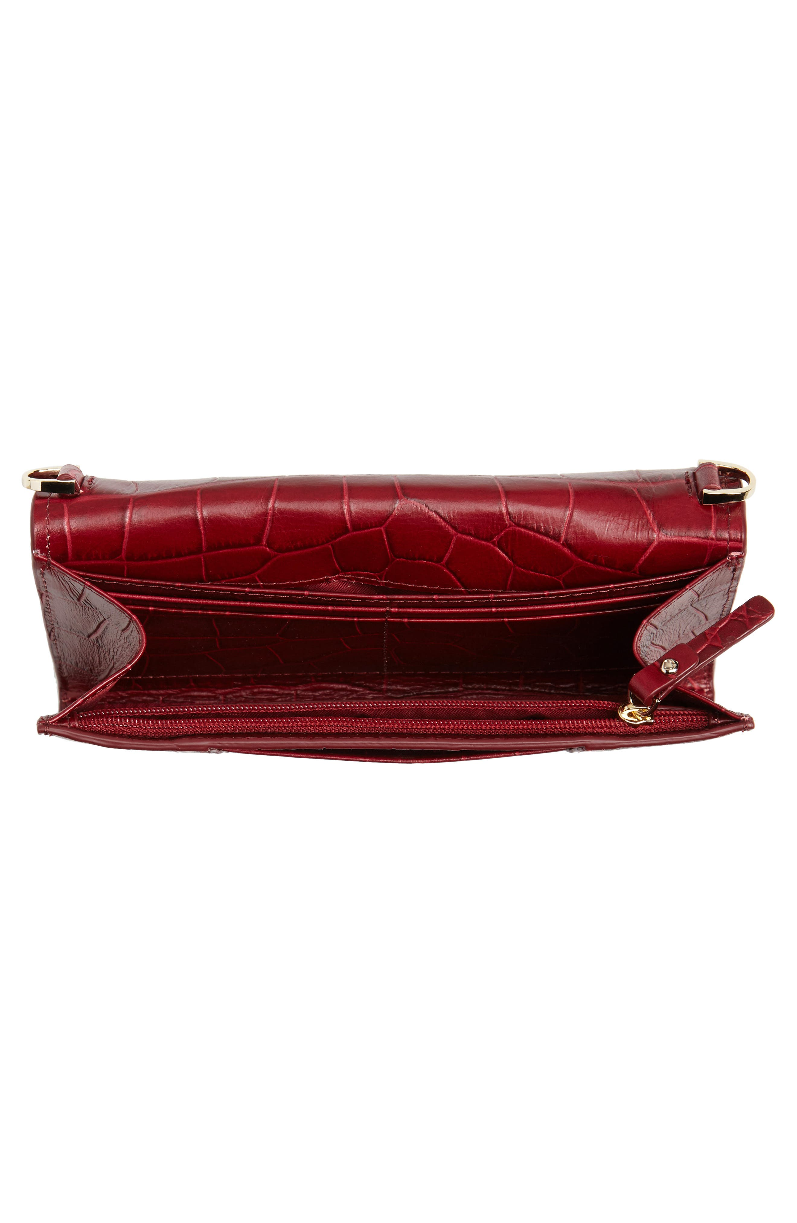 murray street luxe franny leather wallet on a chain,                             Alternate thumbnail 4, color,                             CHILI PEPPER