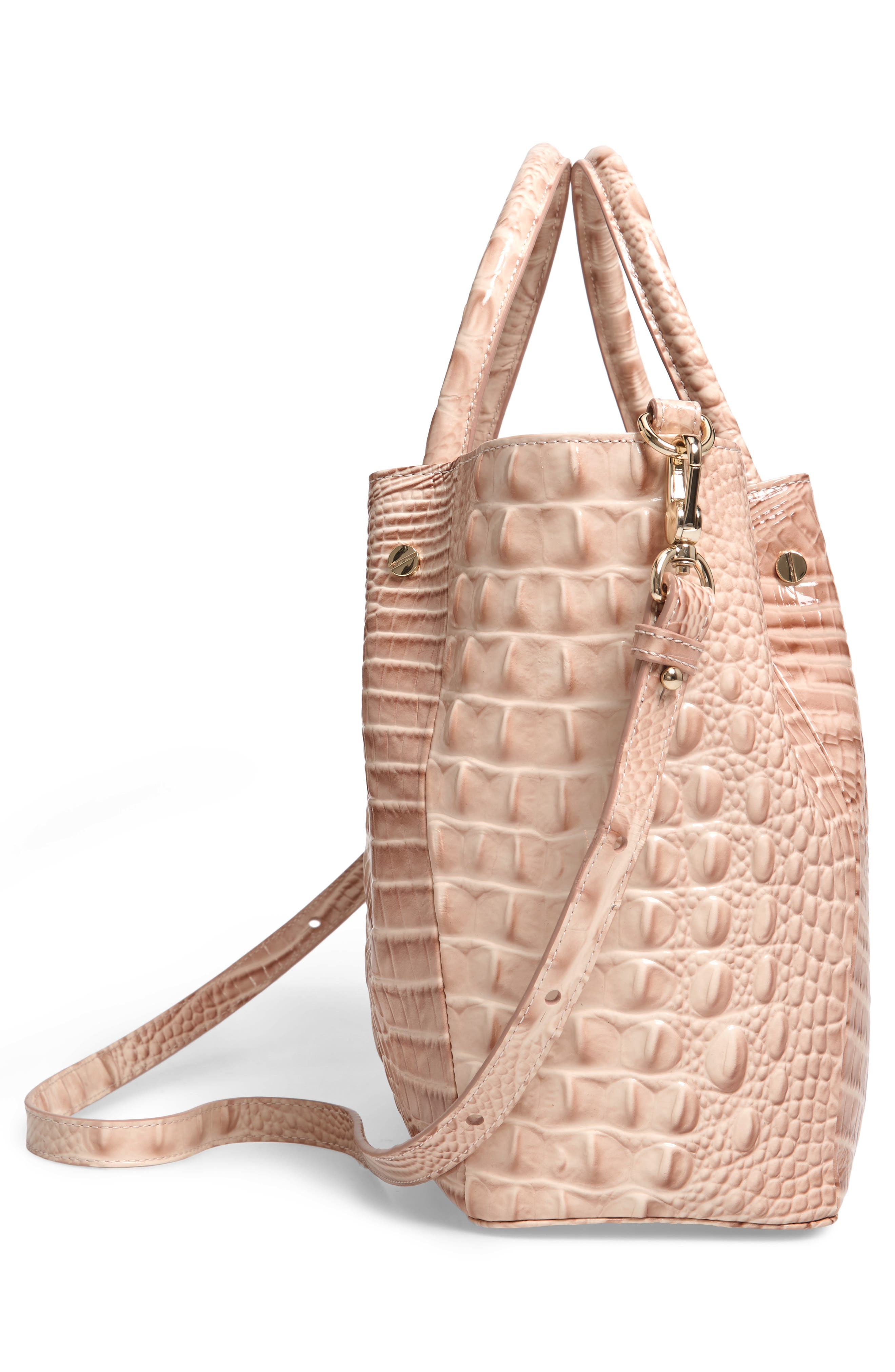 Small Mallory Croc Embossed Leather Satchel,                             Alternate thumbnail 5, color,                             BLOSSOM MELBOURNE
