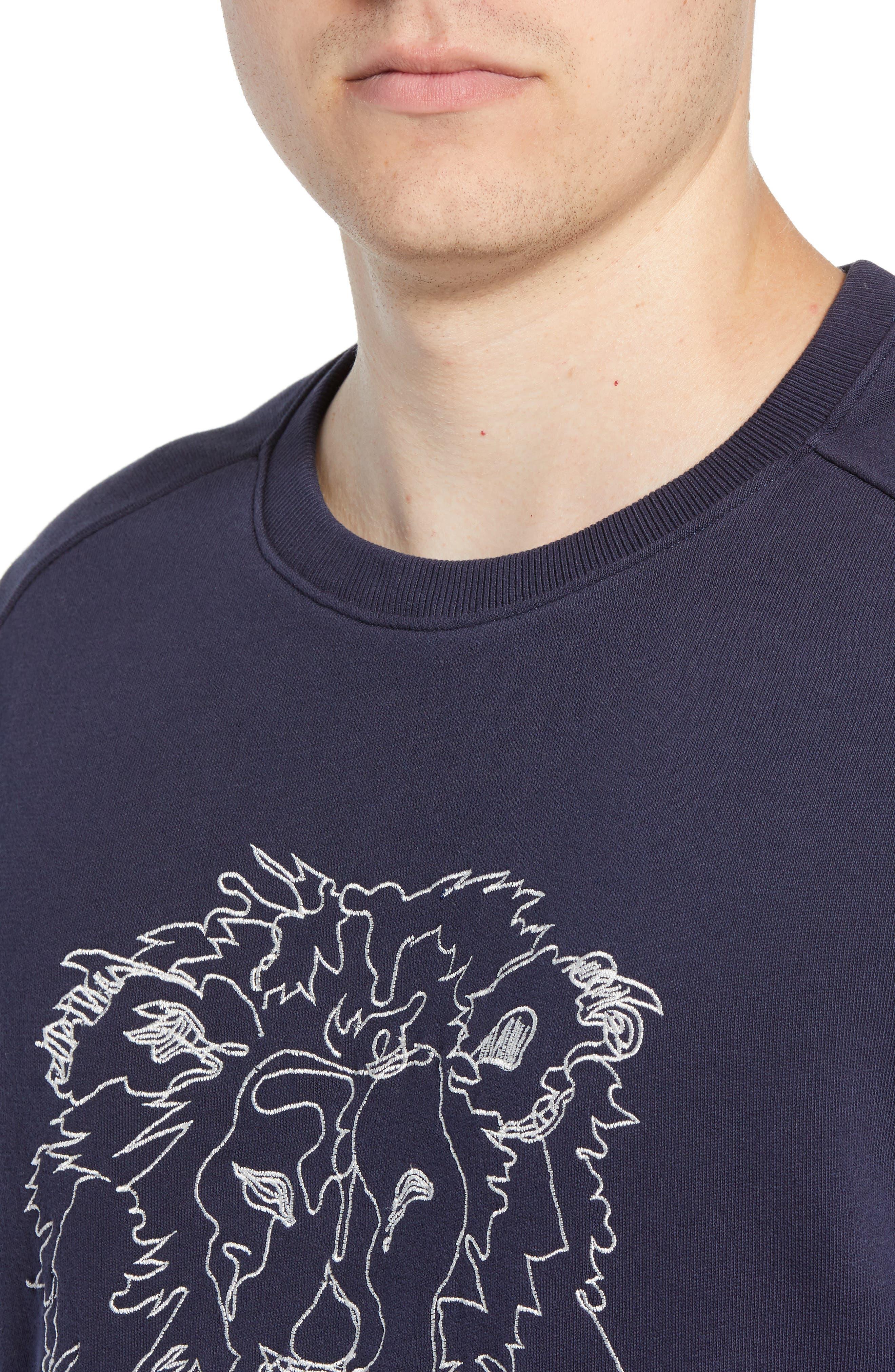 Slim Fit Lion Embroidered Sweatshirt,                             Alternate thumbnail 4, color,                             NAVY BLAZER