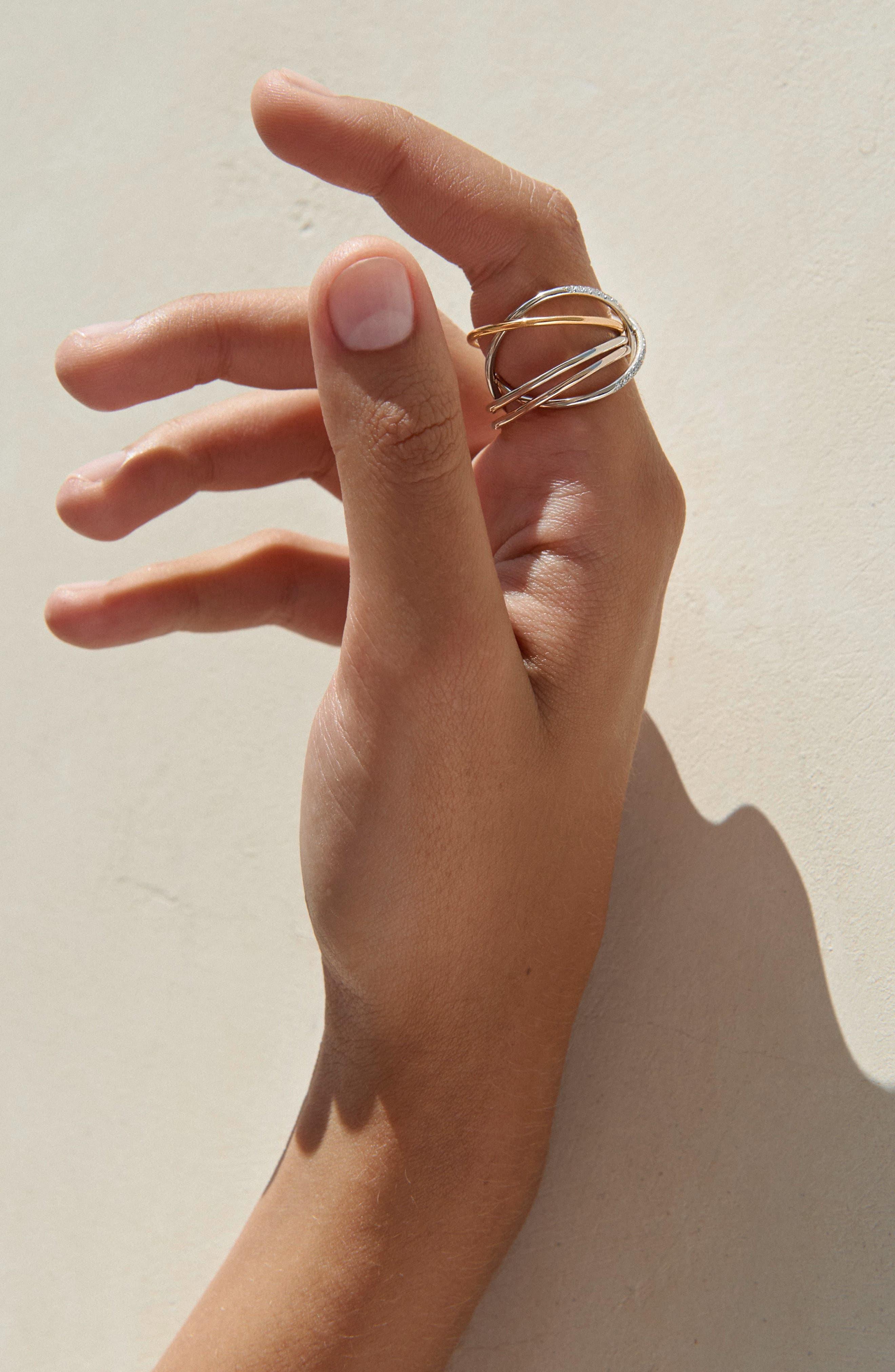 XXO Diamond Ring,                             Alternate thumbnail 2, color,                             YELLOW ROSE WHITE GOLD